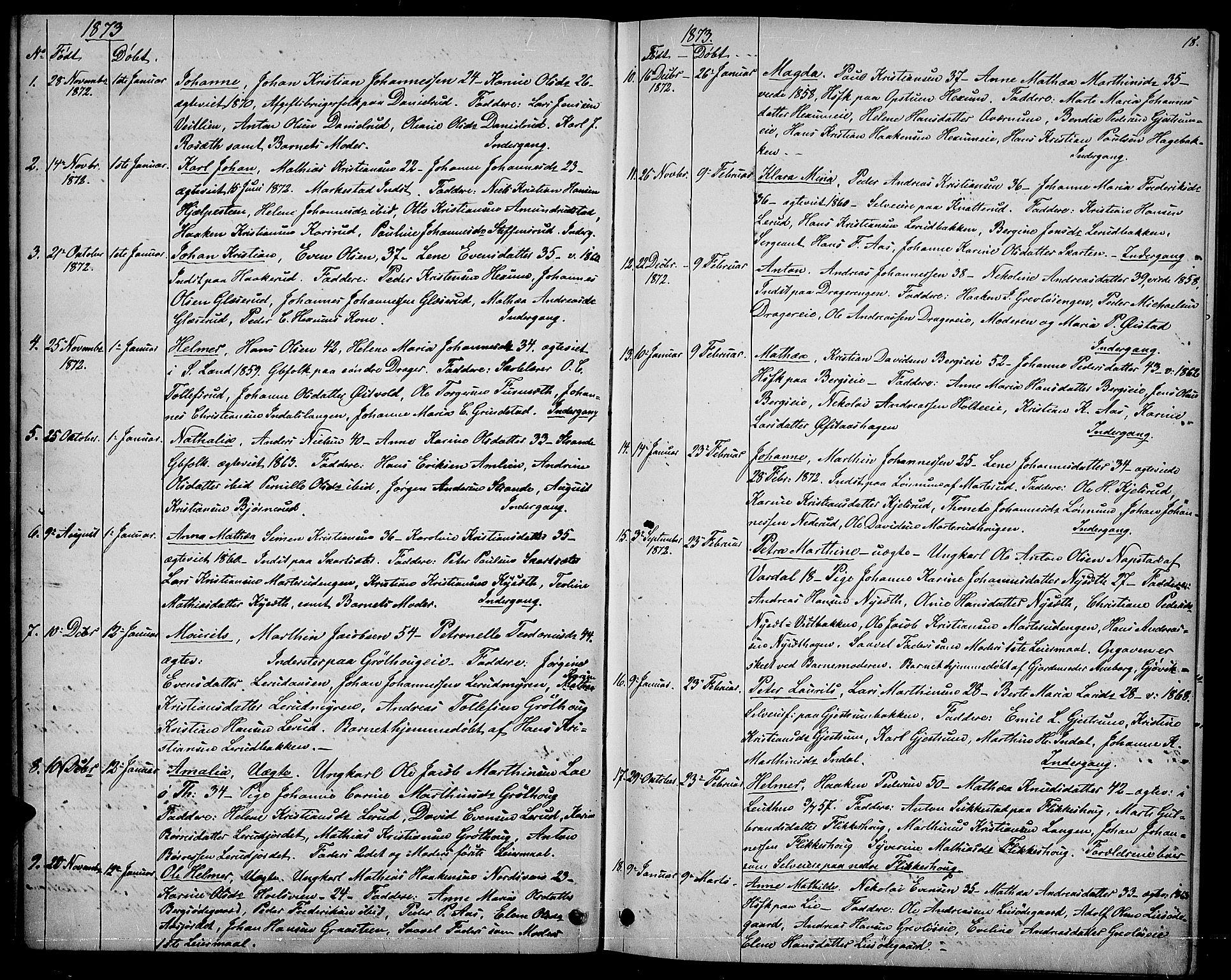 SAH, Vestre Toten prestekontor, Klokkerbok nr. 6, 1870-1887, s. 18