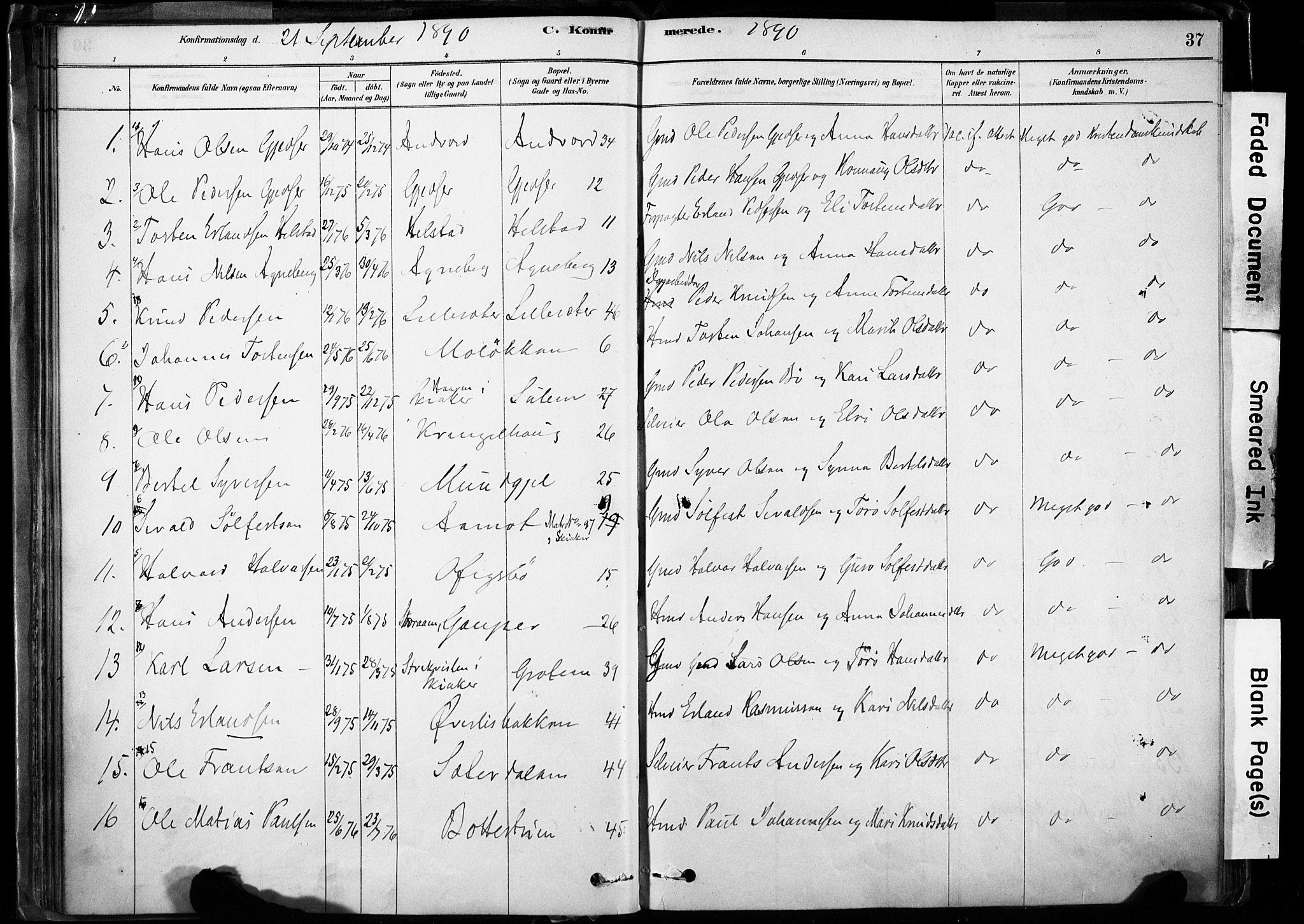 SAH, Lom prestekontor, K/L0009: Ministerialbok nr. 9, 1878-1907, s. 37