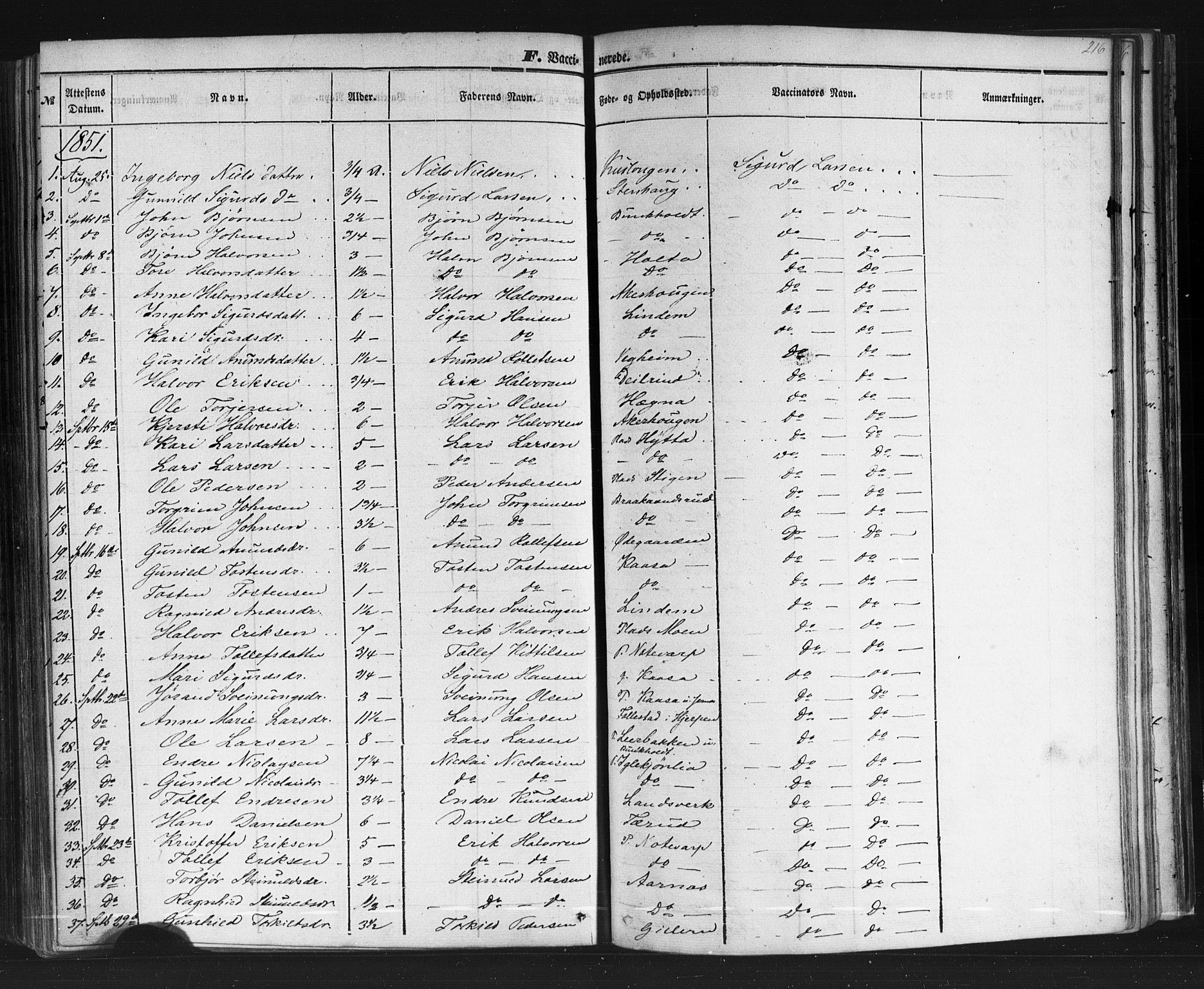 SAKO, Sauherad kirkebøker, F/Fb/L0001: Ministerialbok nr. II 1, 1851-1877, s. 216