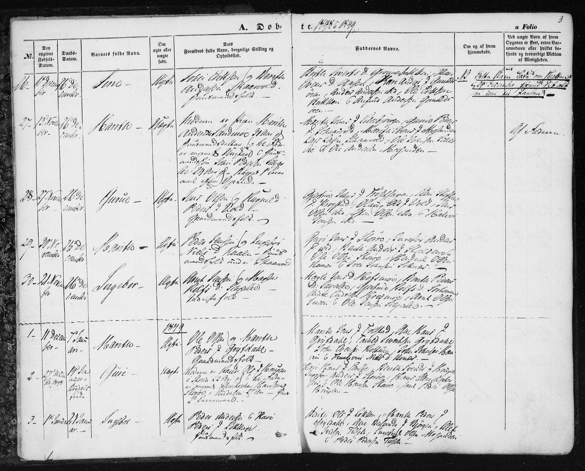 SAT, Ministerialprotokoller, klokkerbøker og fødselsregistre - Sør-Trøndelag, 687/L1000: Ministerialbok nr. 687A06, 1848-1869, s. 3