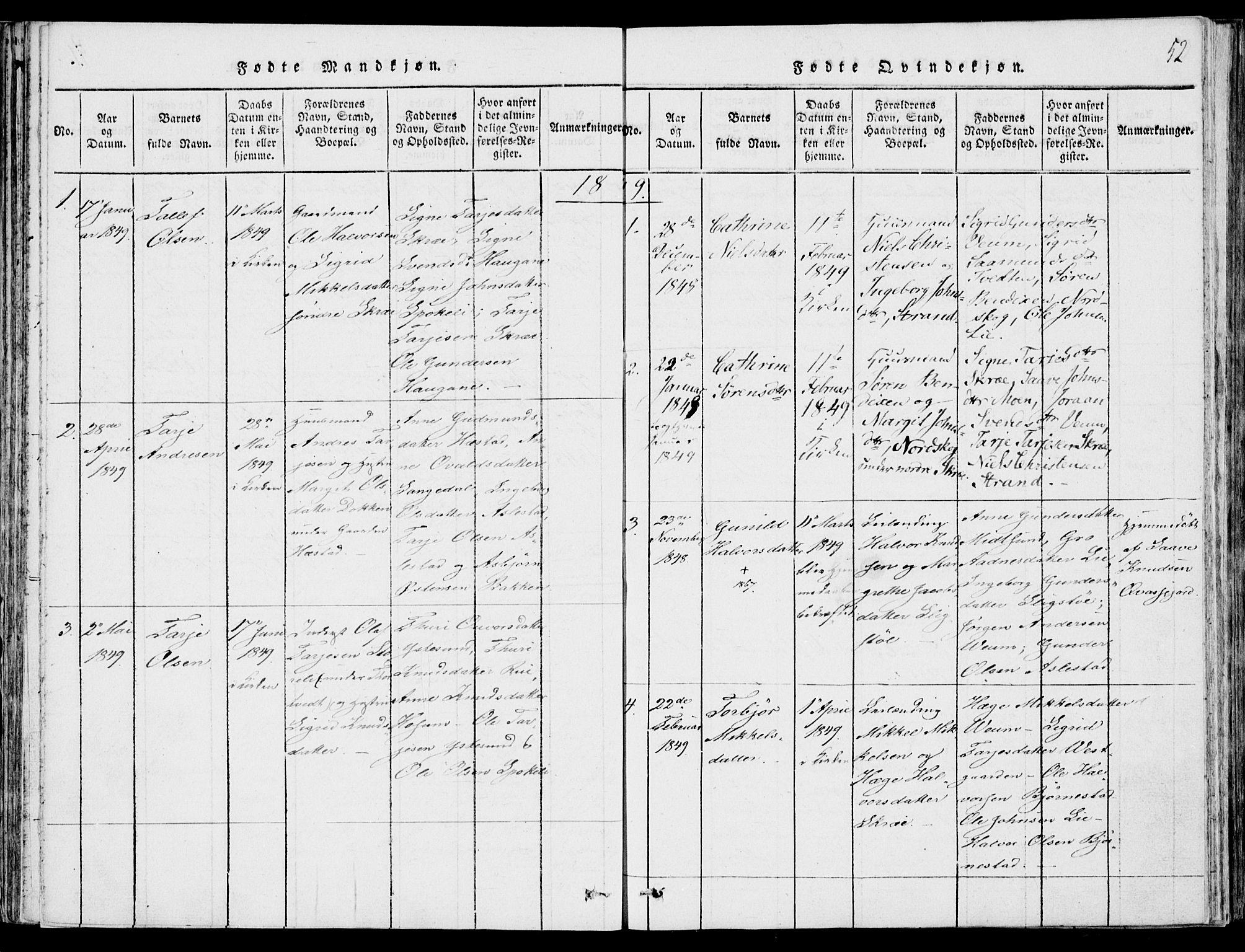 SAKO, Fyresdal kirkebøker, F/Fb/L0001: Ministerialbok nr. II 1, 1815-1854, s. 52