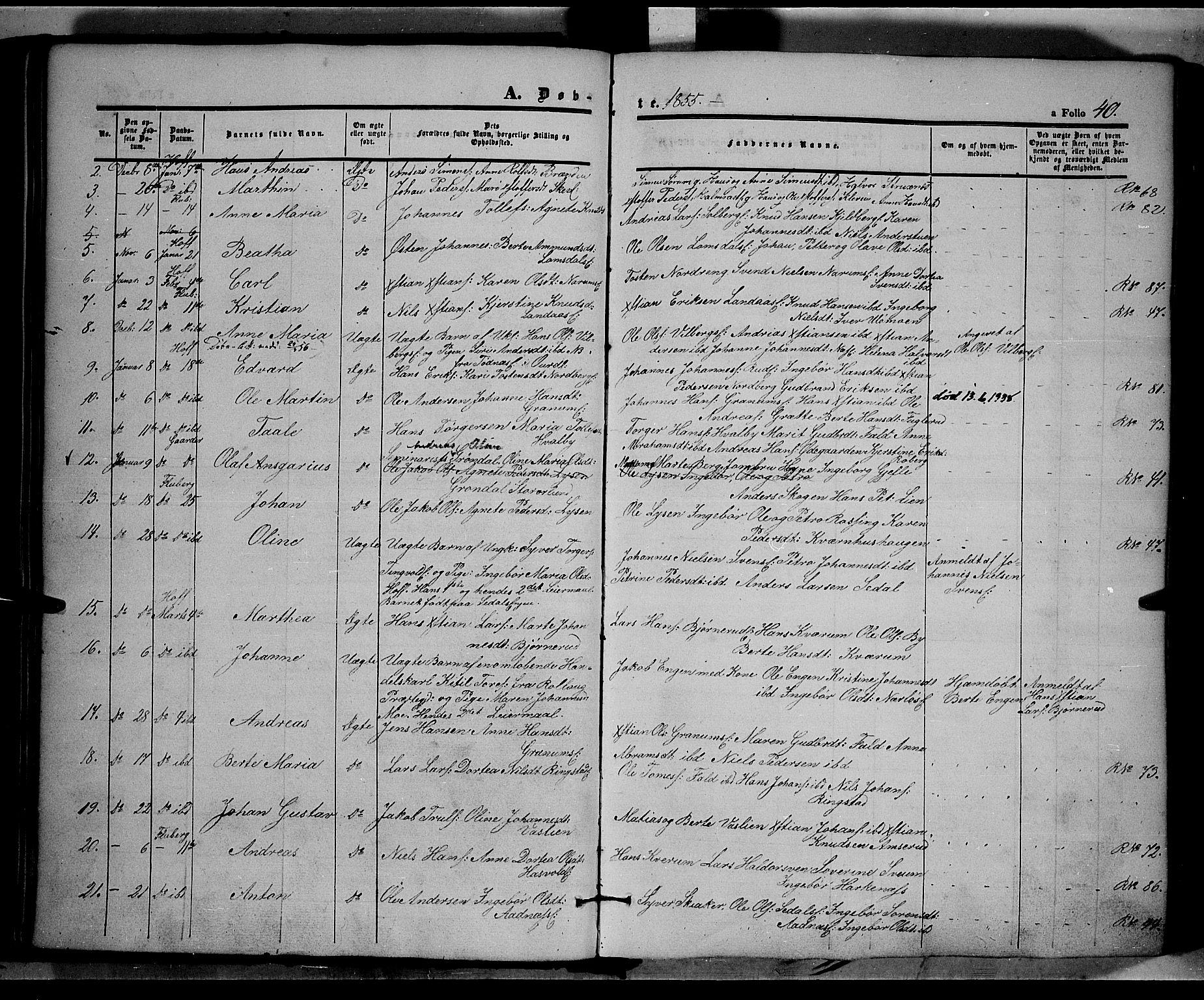 SAH, Land prestekontor, Ministerialbok nr. 9, 1847-1859, s. 40