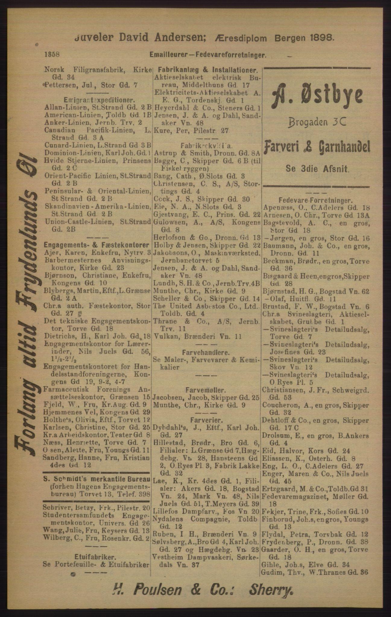 RA, Kristiania adressebok (publikasjon)*, 1905, s. 1358