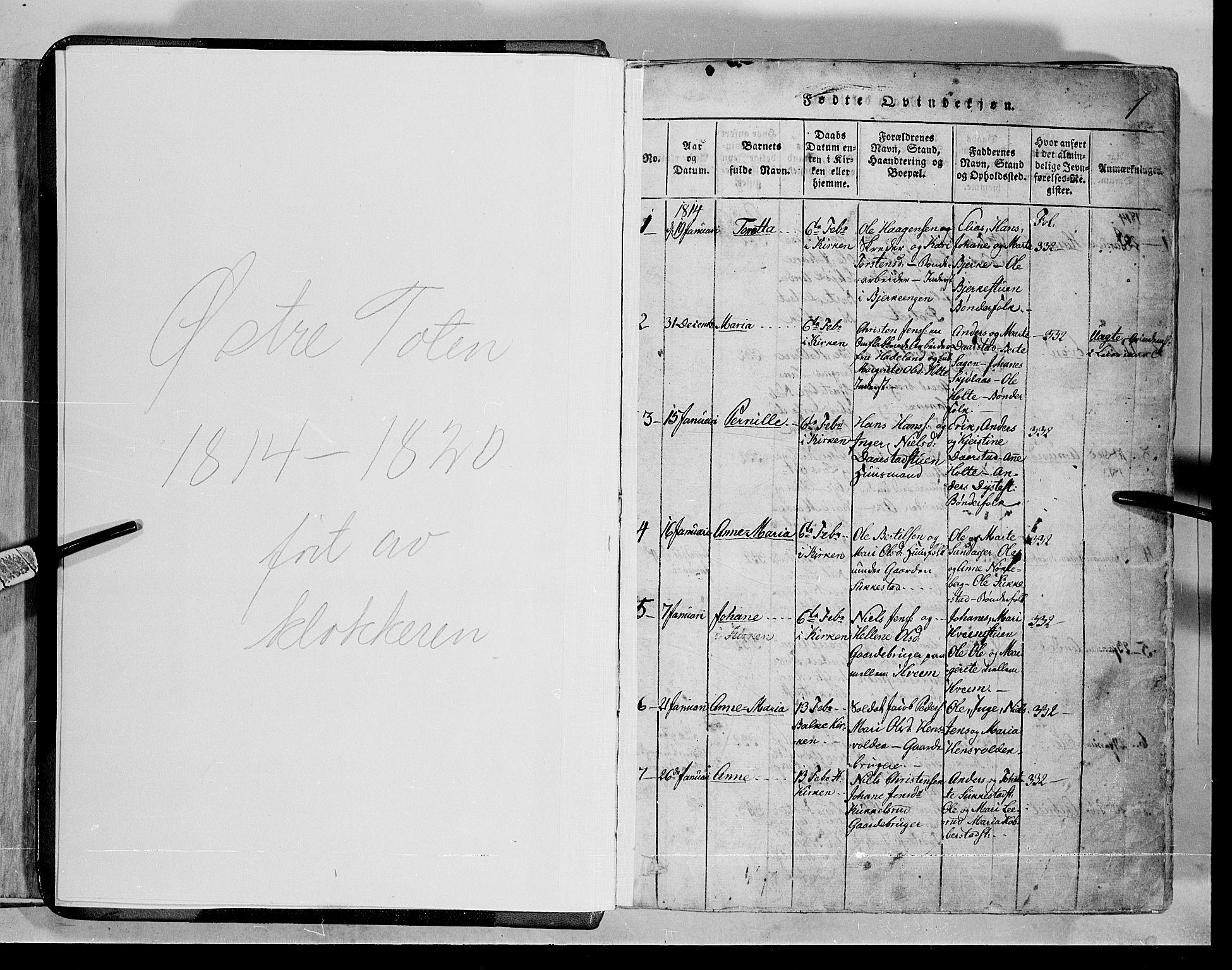 SAH, Toten prestekontor, Klokkerbok nr. 1, 1814-1820, s. 1