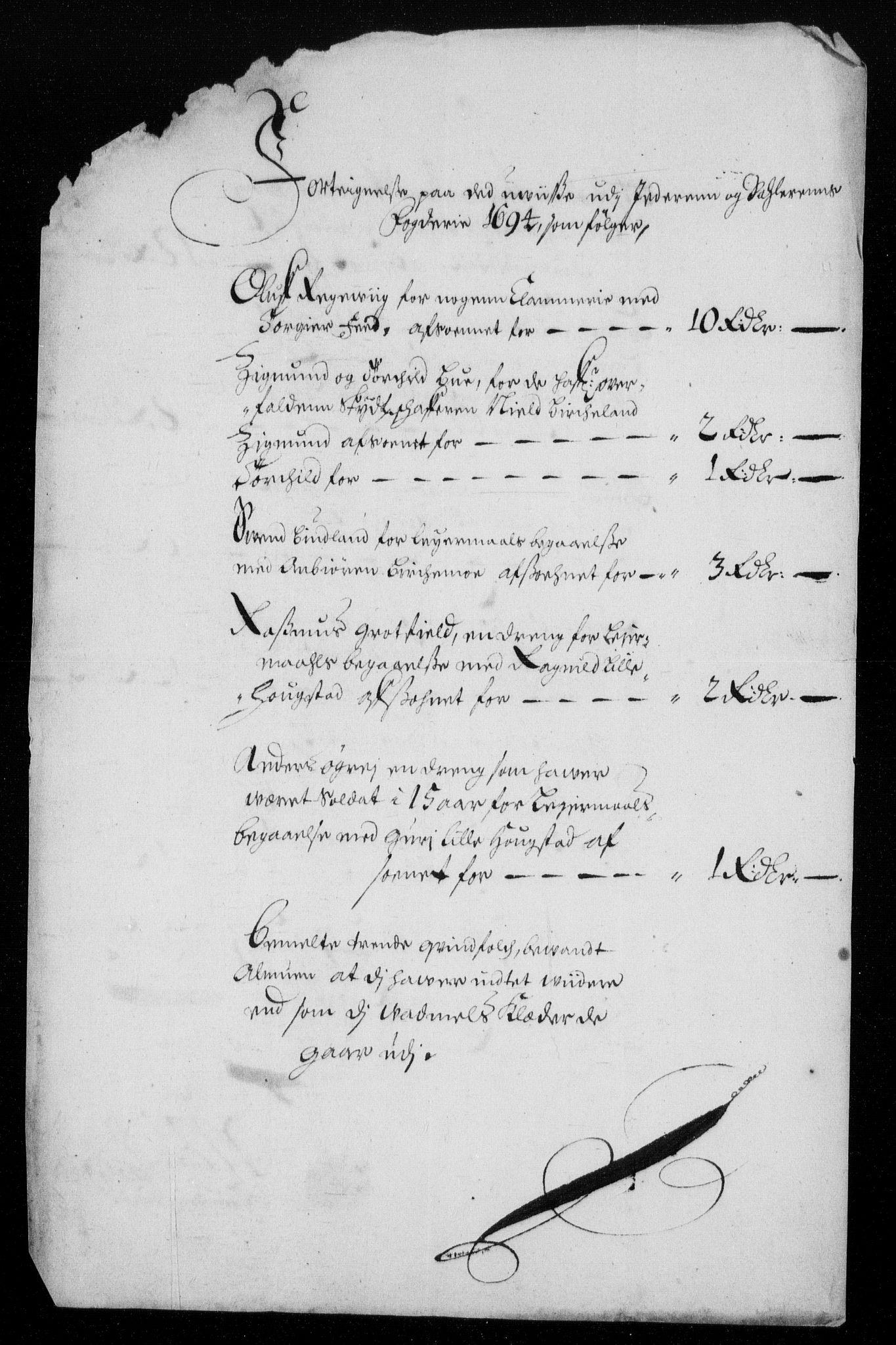 RA, Rentekammeret inntil 1814, Reviderte regnskaper, Fogderegnskap, R46/L2728: Fogderegnskap Jæren og Dalane, 1694-1696, s. 80
