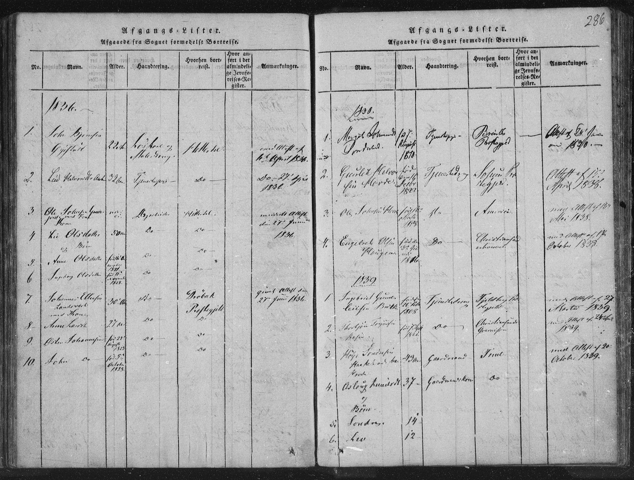 SAKO, Hjartdal kirkebøker, F/Fc/L0001: Ministerialbok nr. III 1, 1815-1843, s. 286