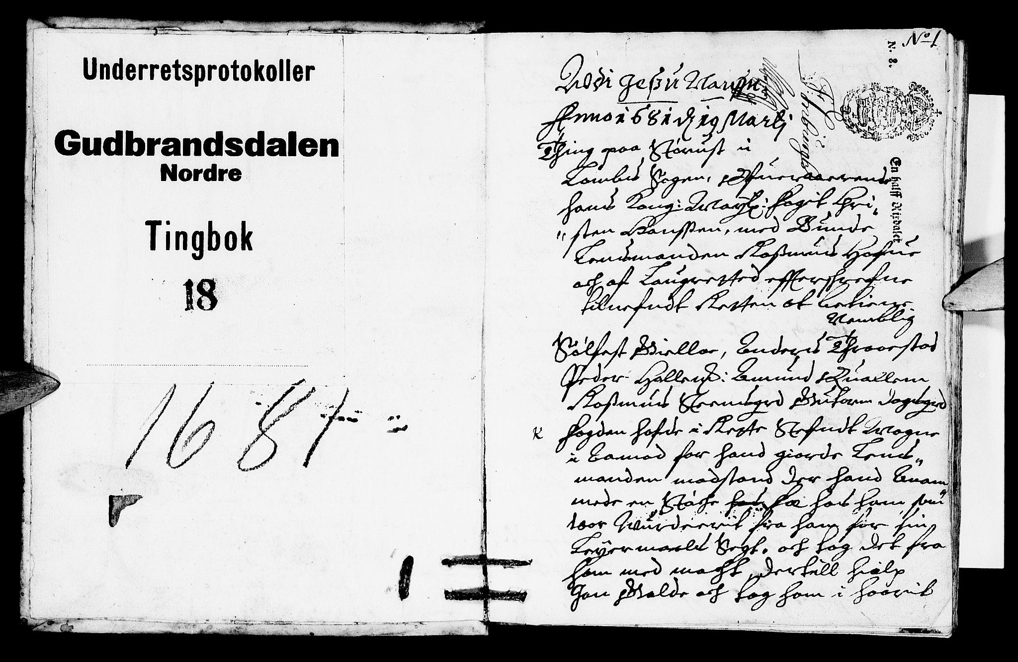 SAH, Sorenskriverier i Gudbrandsdalen, G/Gb/Gba/L0017: Tingbok - Nord-Gudbrandsdal, 1681, s. 0b-1a