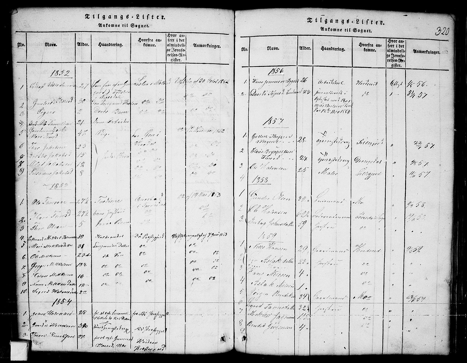 SAKO, Nissedal kirkebøker, G/Ga/L0001: Klokkerbok nr. I 1, 1814-1860, s. 320