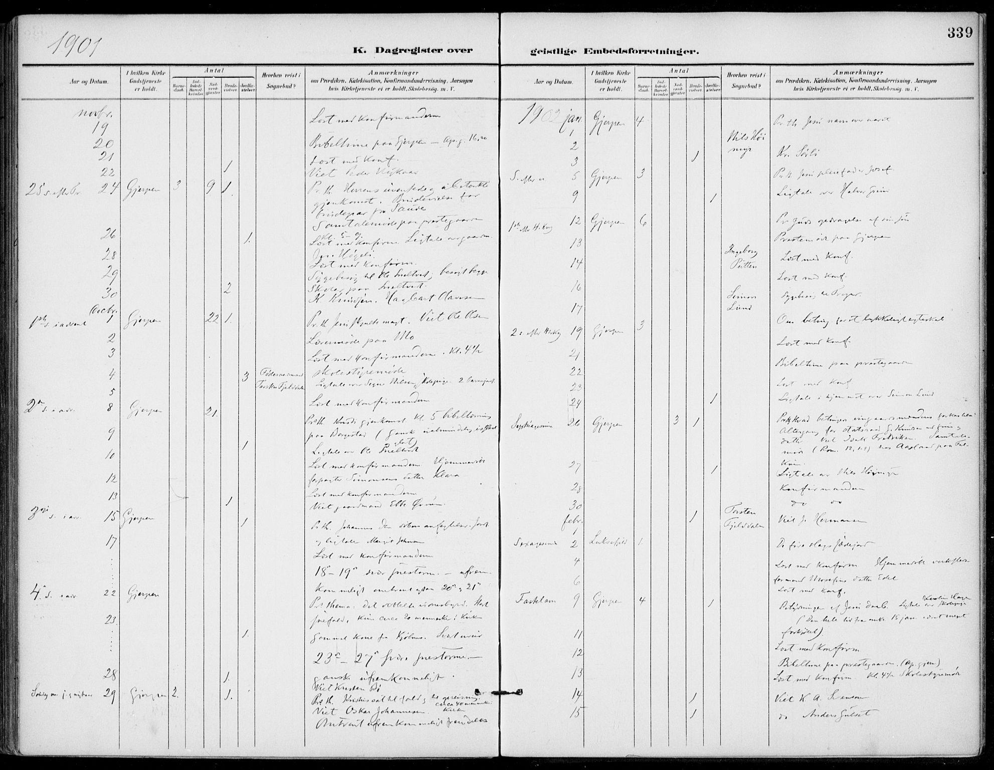 SAKO, Gjerpen kirkebøker, F/Fa/L0011: Ministerialbok nr. 11, 1896-1904, s. 339