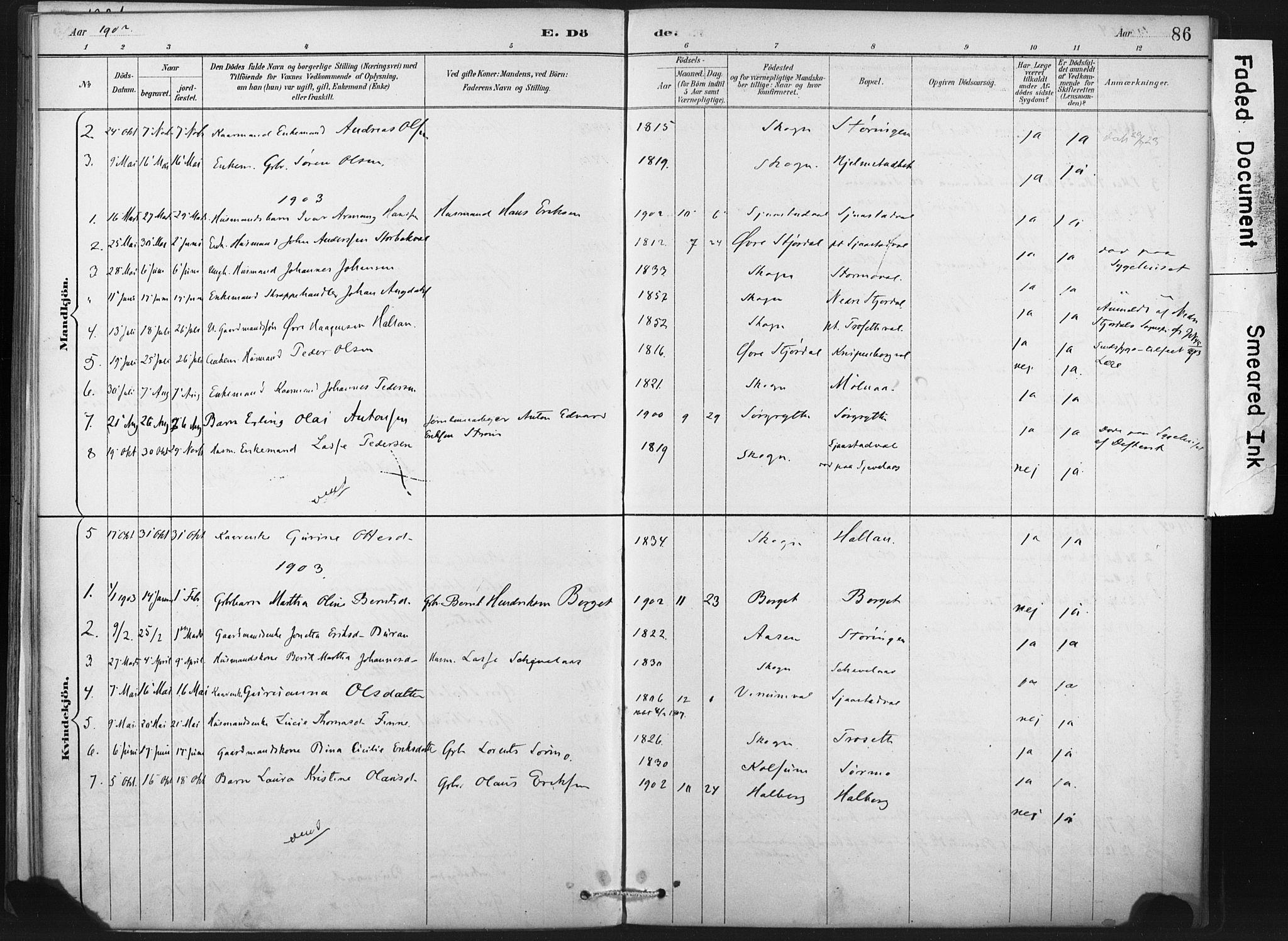 SAT, Ministerialprotokoller, klokkerbøker og fødselsregistre - Nord-Trøndelag, 718/L0175: Ministerialbok nr. 718A01, 1890-1923, s. 86