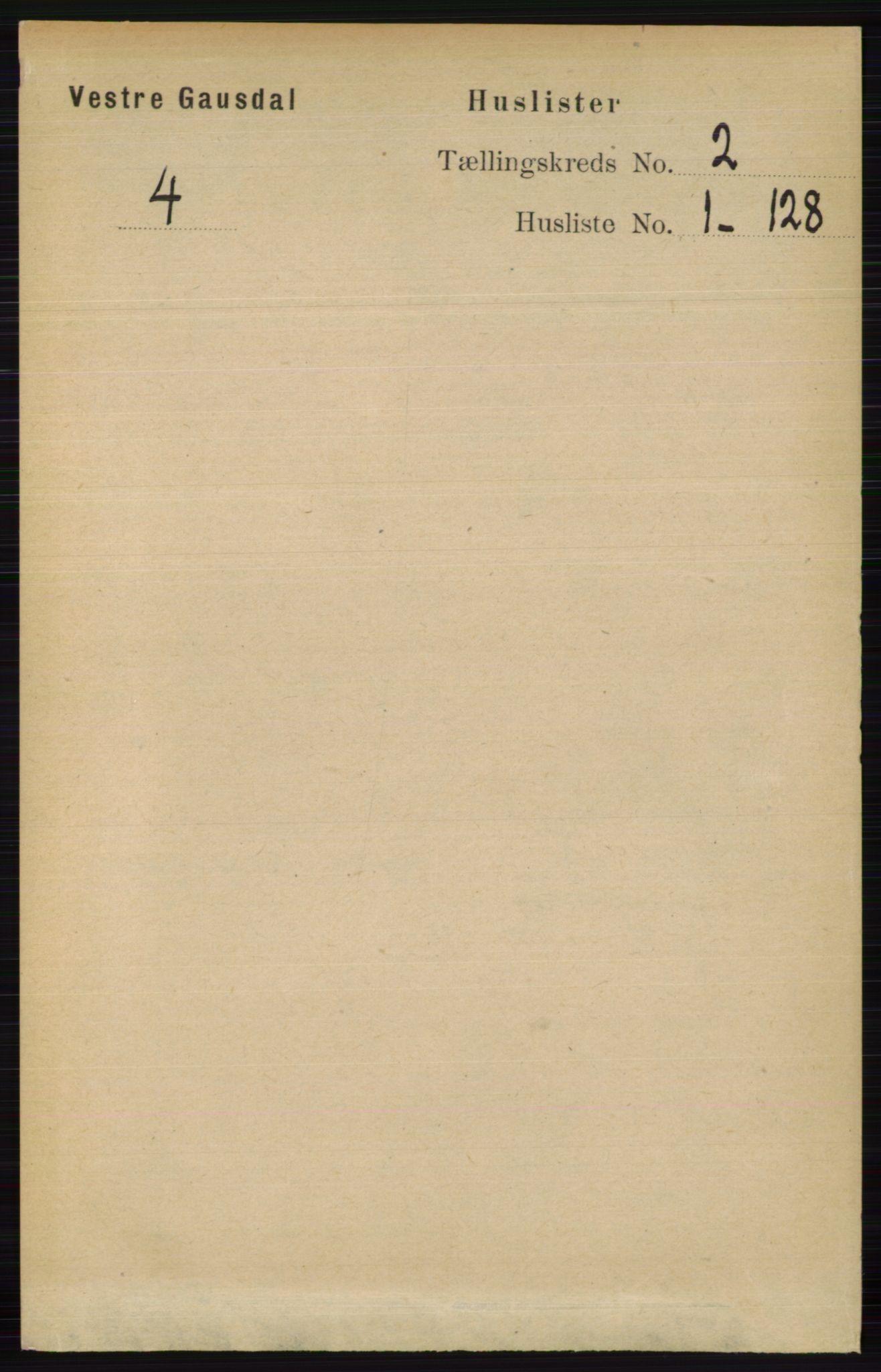 RA, Folketelling 1891 for 0523 Vestre Gausdal herred, 1891, s. 384