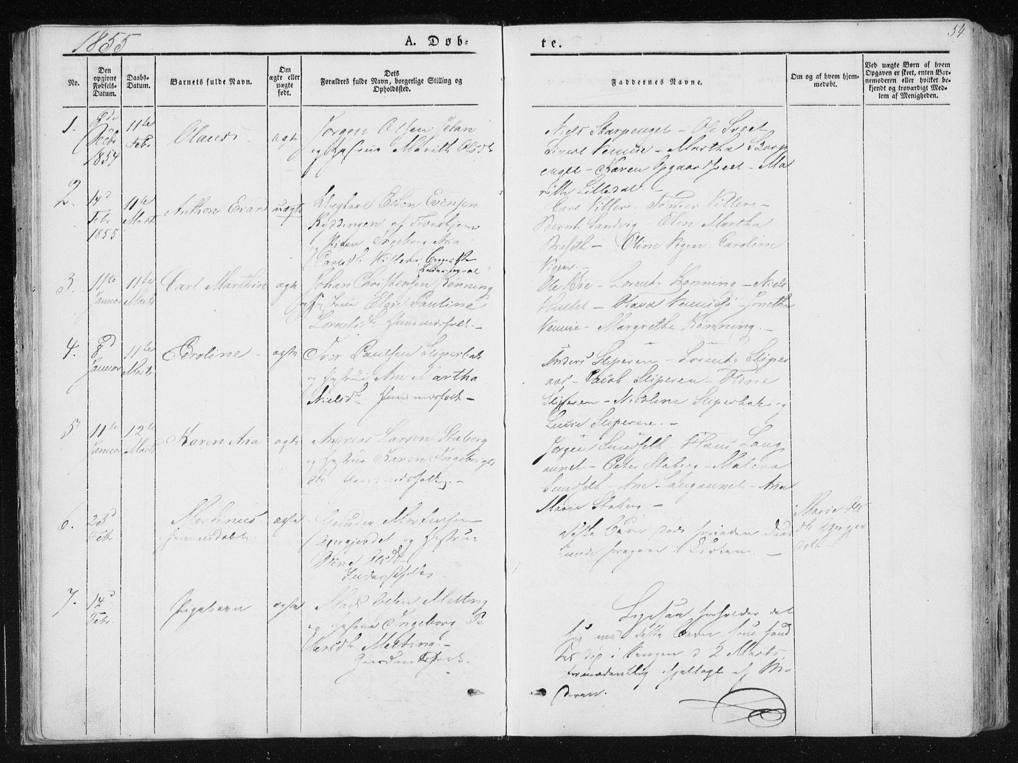 SAT, Ministerialprotokoller, klokkerbøker og fødselsregistre - Nord-Trøndelag, 733/L0323: Ministerialbok nr. 733A02, 1843-1870, s. 54