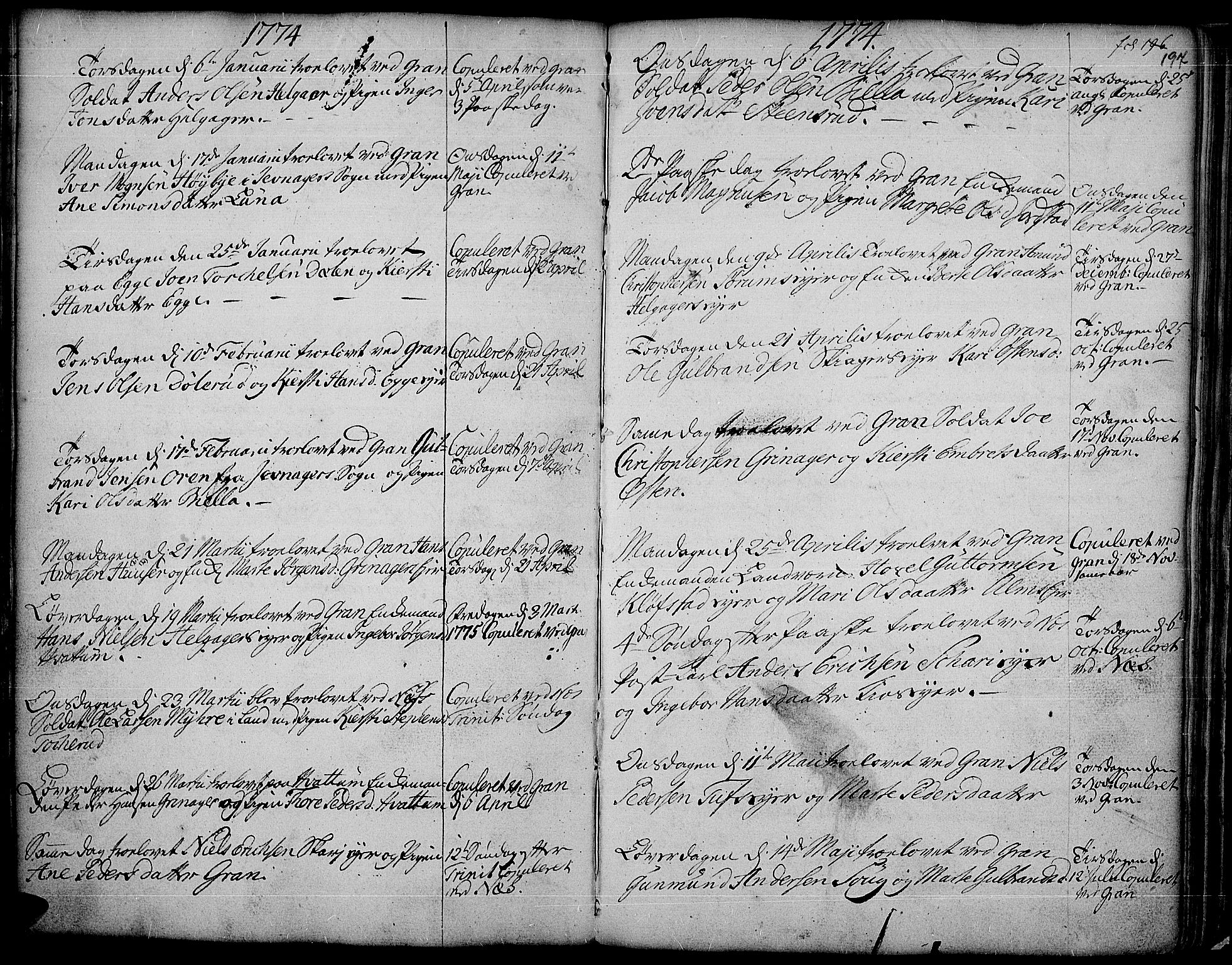 SAH, Gran prestekontor, Ministerialbok nr. 4, 1759-1775, s. 197