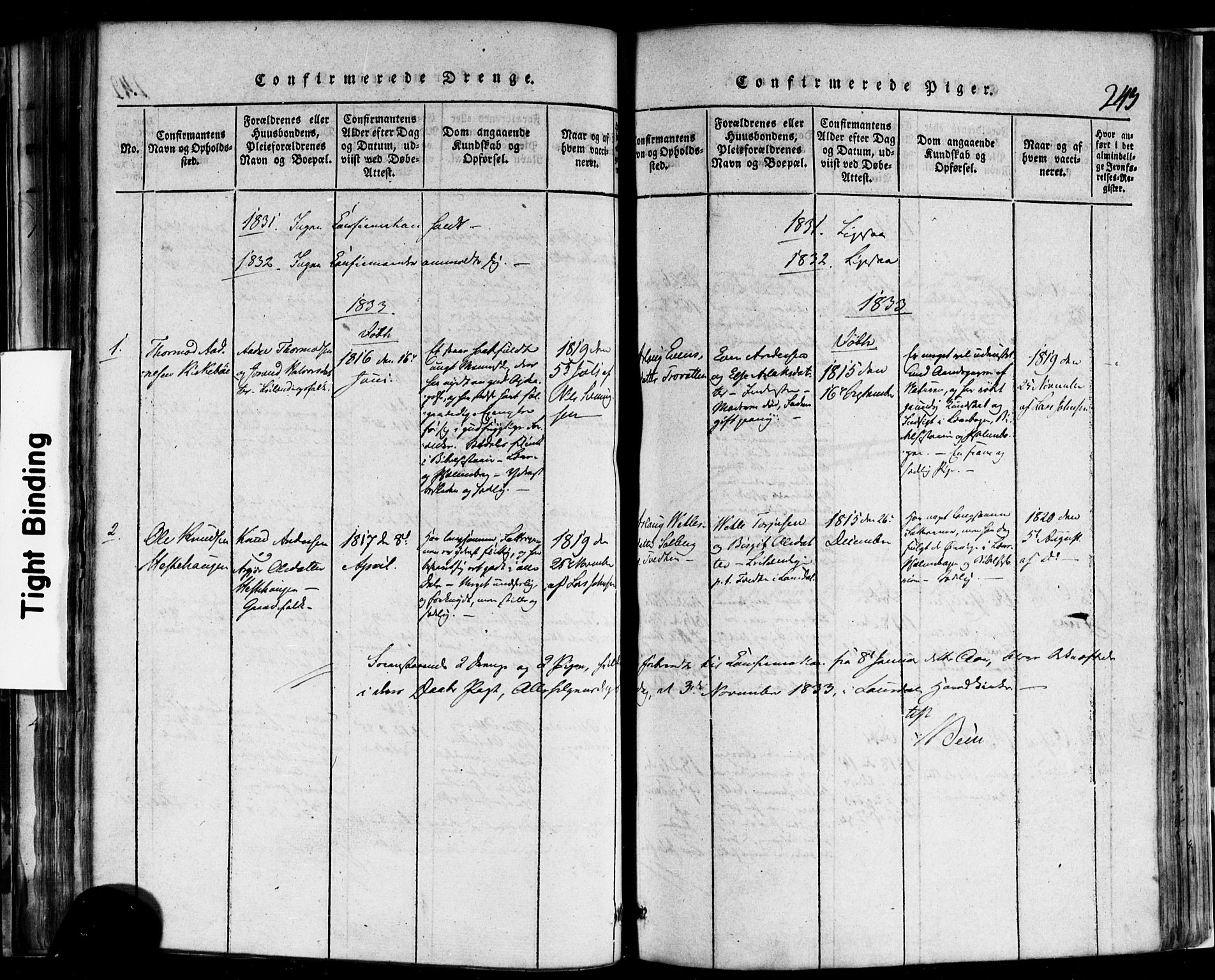 SAKO, Rauland kirkebøker, F/Fa/L0002: Ministerialbok nr. 2, 1815-1860, s. 243