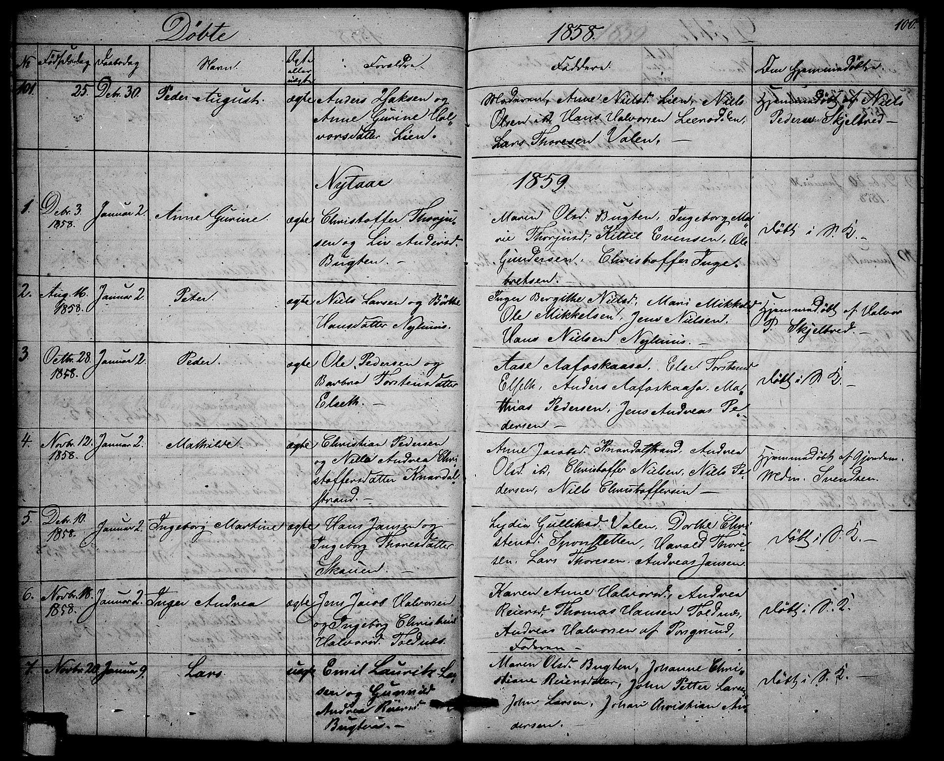 SAKO, Solum kirkebøker, G/Ga/L0003: Klokkerbok nr. I 3, 1848-1859, s. 100