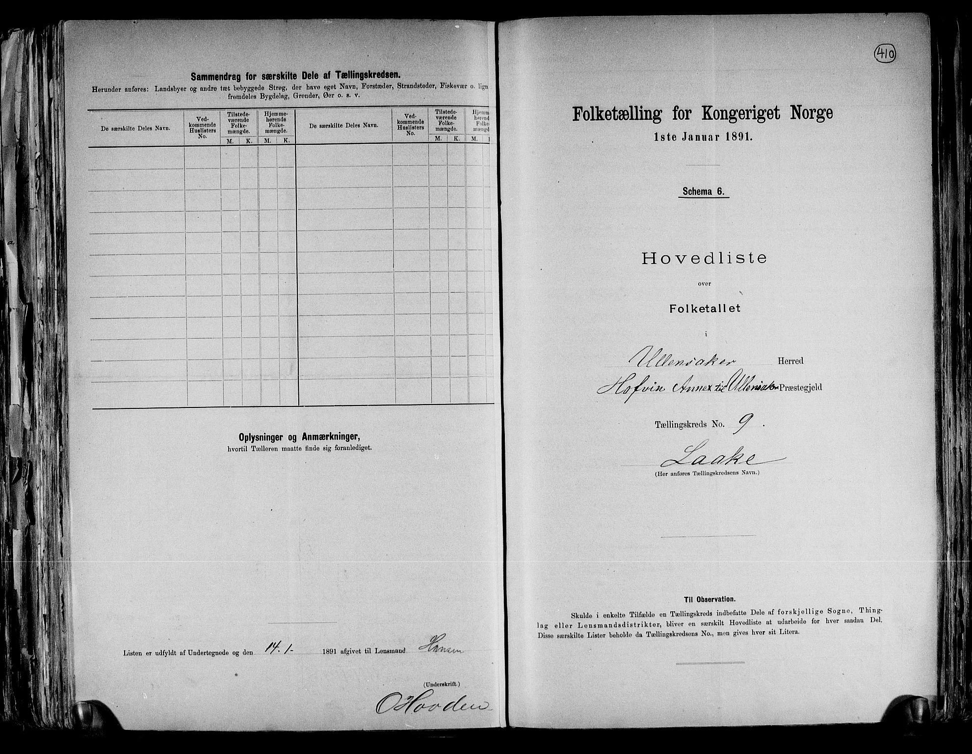 RA, Folketelling 1891 for 0235 Ullensaker herred, 1891, s. 21