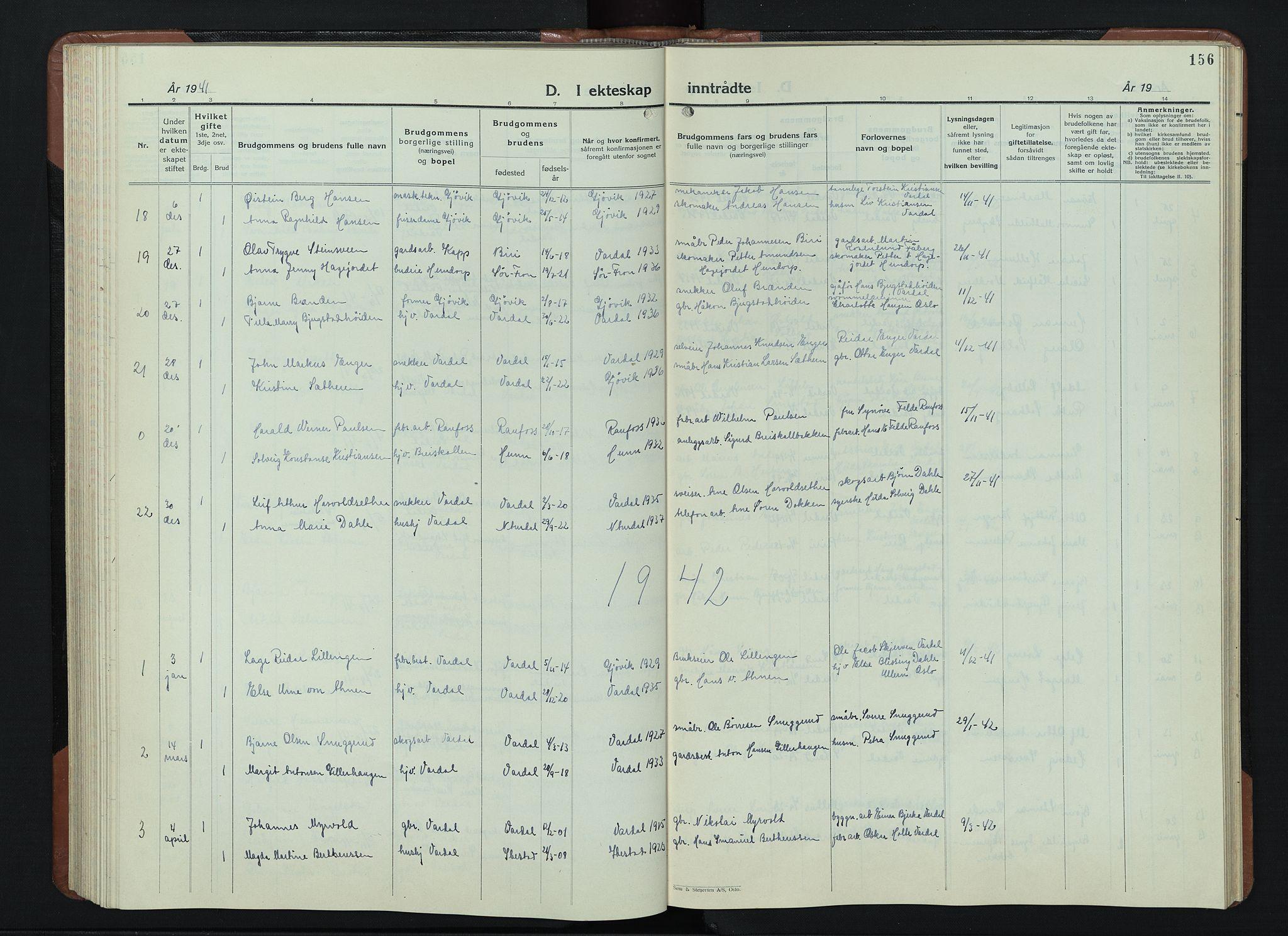 SAH, Vardal prestekontor, H/Ha/Hab/L0018: Klokkerbok nr. 18, 1931-1951, s. 156