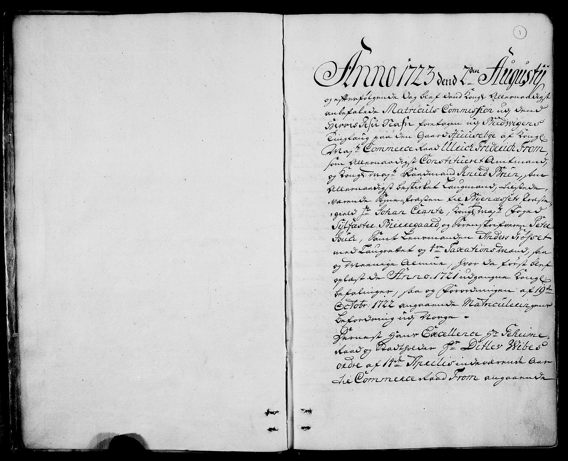RA, Rentekammeret inntil 1814, Realistisk ordnet avdeling, N/Nb/Nbf/L0160: Strinda og Selbu eksaminasjonsprotokoll, 1723, s. 1a