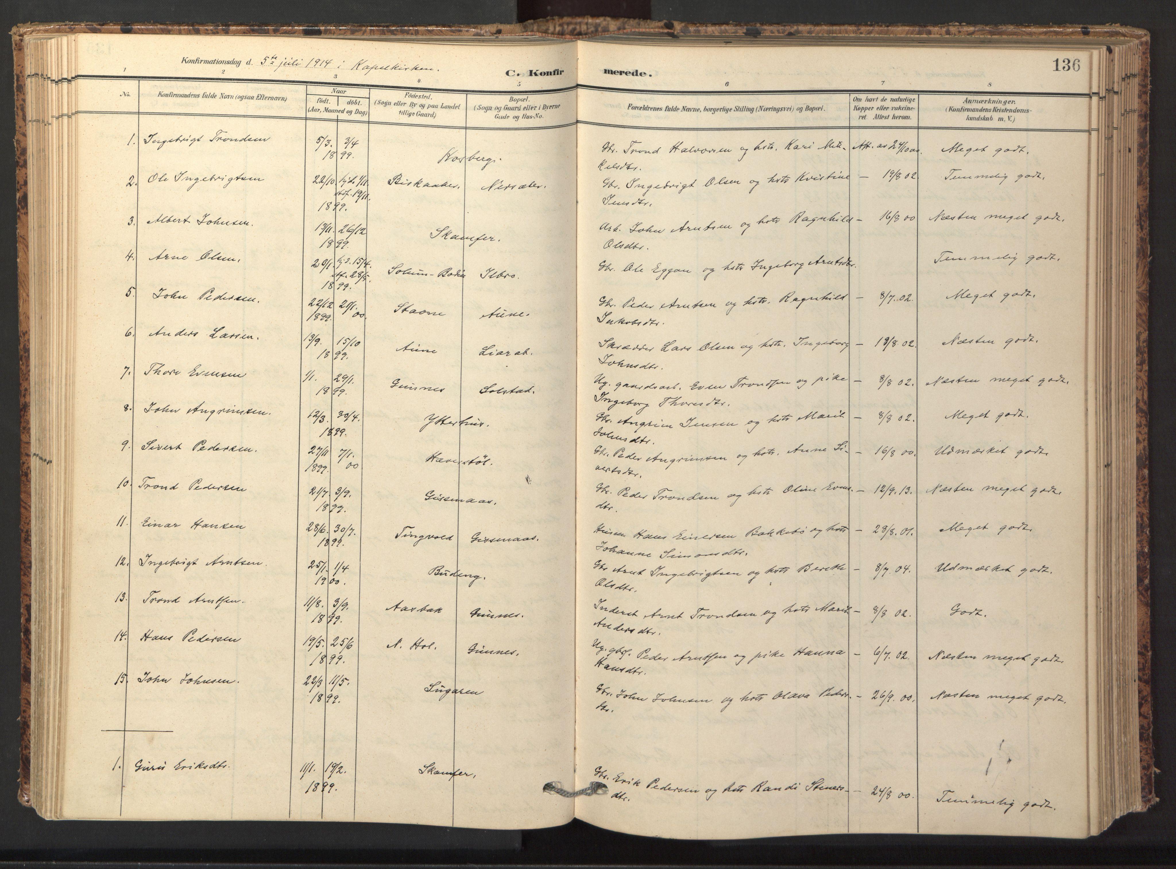 SAT, Ministerialprotokoller, klokkerbøker og fødselsregistre - Sør-Trøndelag, 674/L0873: Ministerialbok nr. 674A05, 1908-1923, s. 136