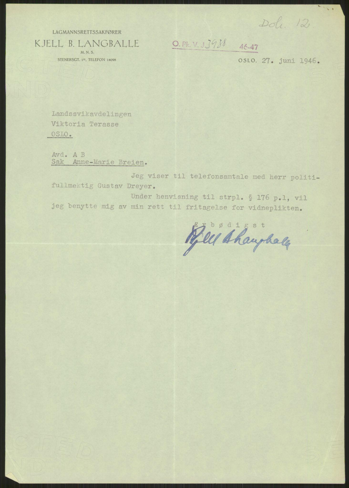 RA, Landssvikarkivet, Oslo politikammer, D/Dg/L0267: Henlagt hnr. 3658, 1945-1946, s. 241