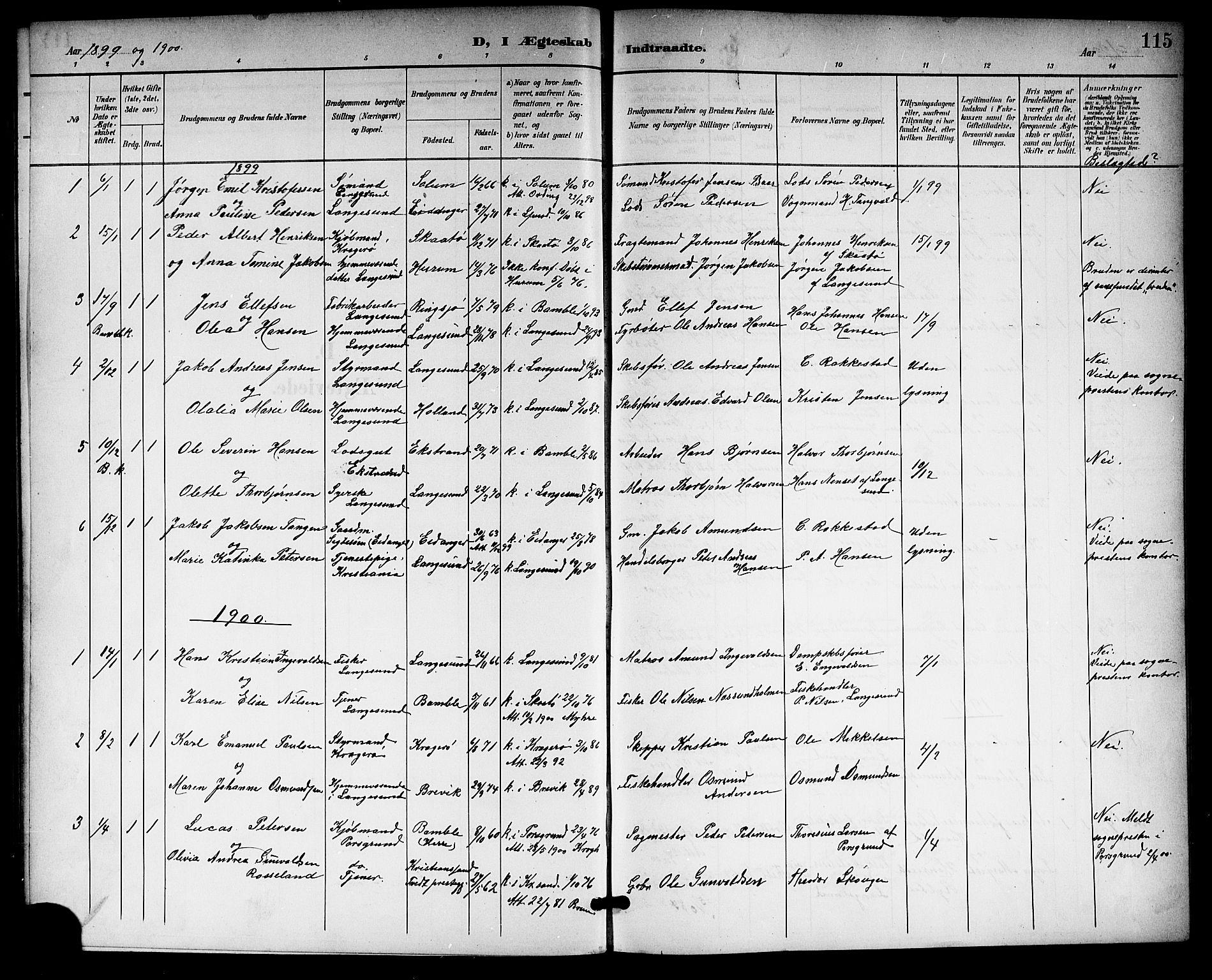 SAKO, Langesund kirkebøker, G/Ga/L0006: Klokkerbok nr. 6, 1899-1918, s. 115
