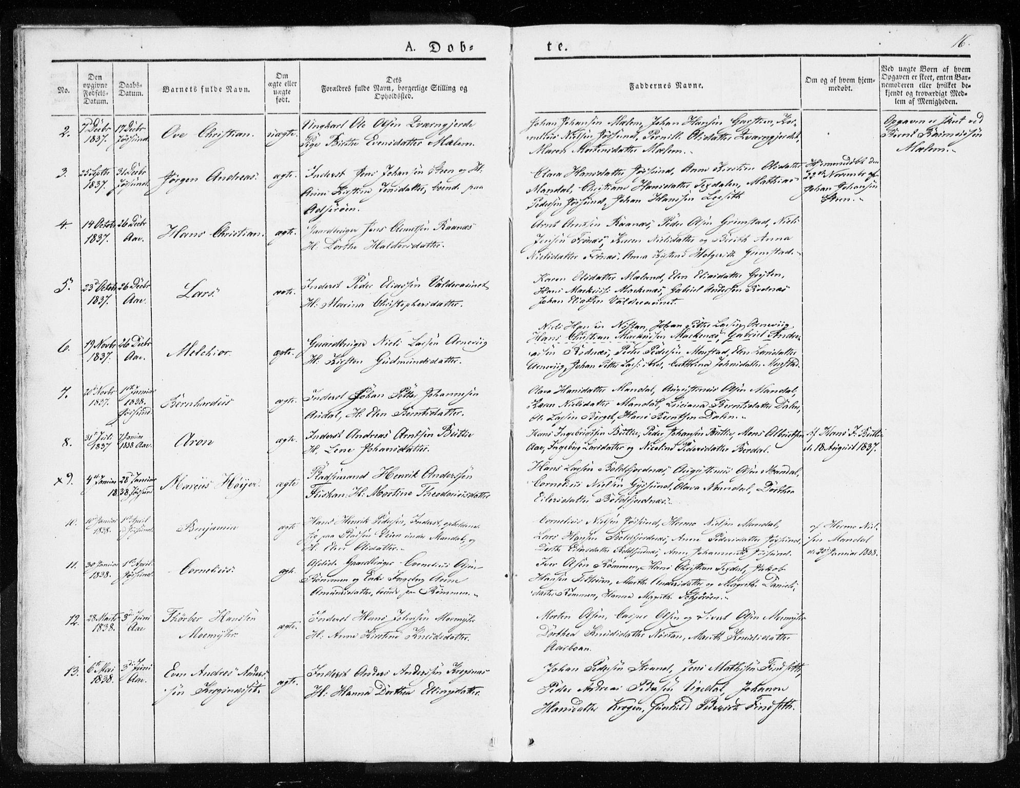 SAT, Ministerialprotokoller, klokkerbøker og fødselsregistre - Sør-Trøndelag, 655/L0676: Ministerialbok nr. 655A05, 1830-1847, s. 16