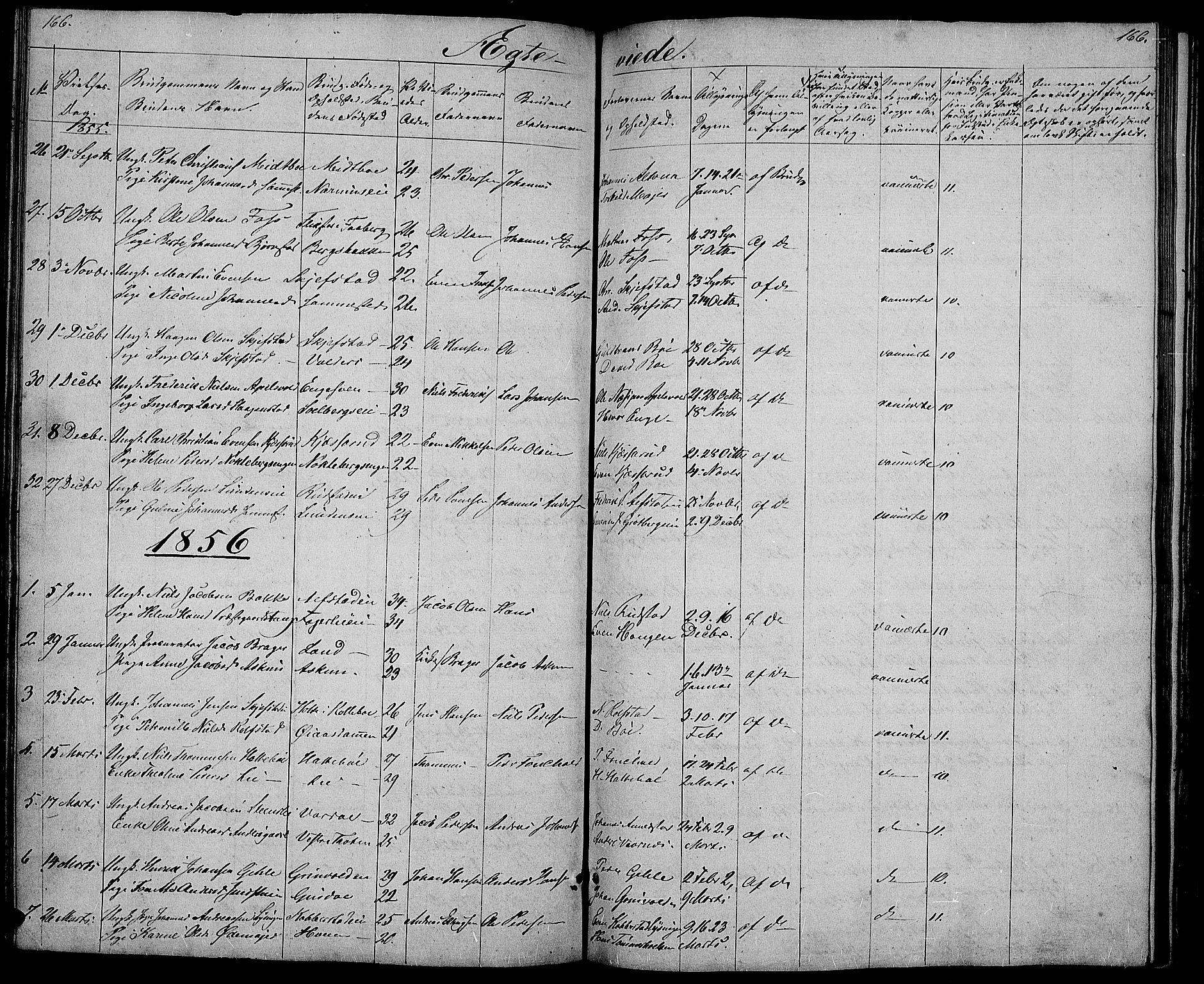 SAH, Østre Toten prestekontor, Klokkerbok nr. 3, 1848-1857, s. 166