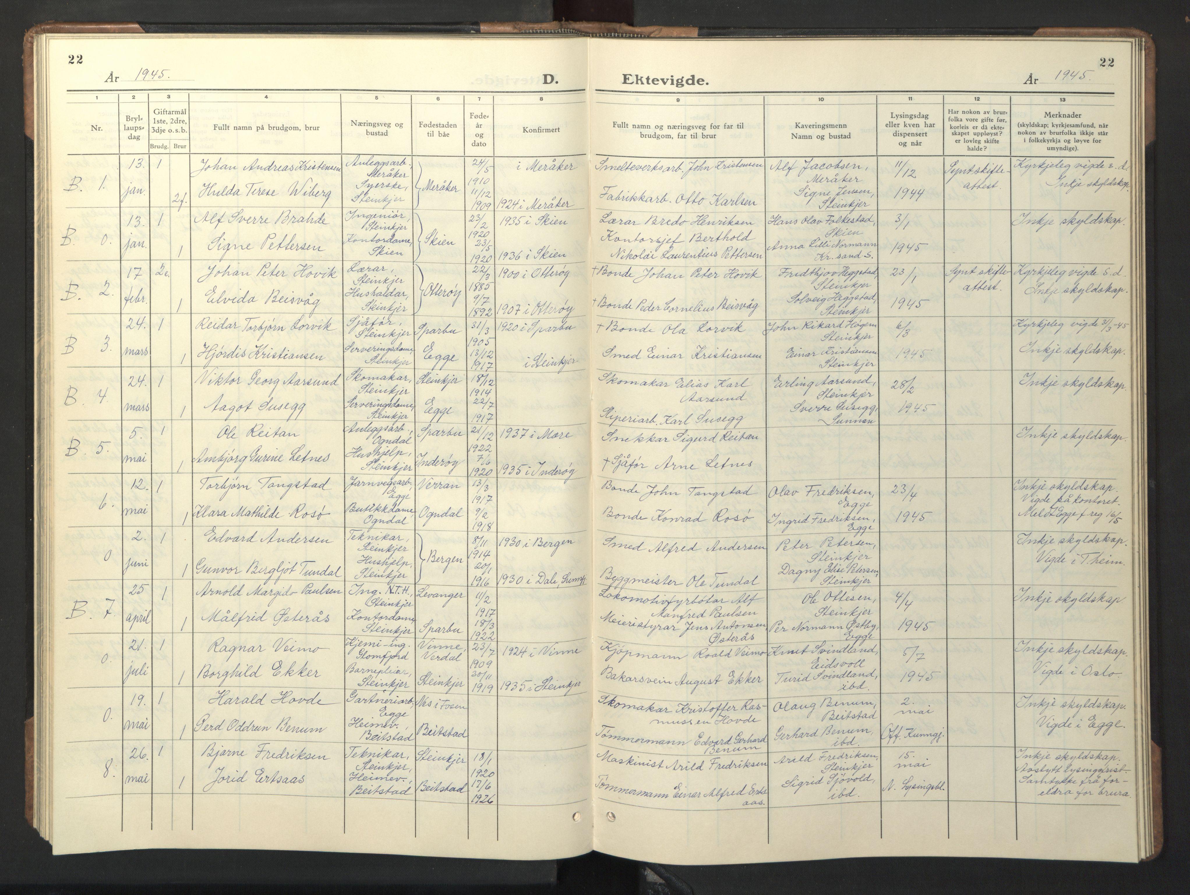SAT, Ministerialprotokoller, klokkerbøker og fødselsregistre - Nord-Trøndelag, 739/L0377: Klokkerbok nr. 739C05, 1940-1947, s. 22