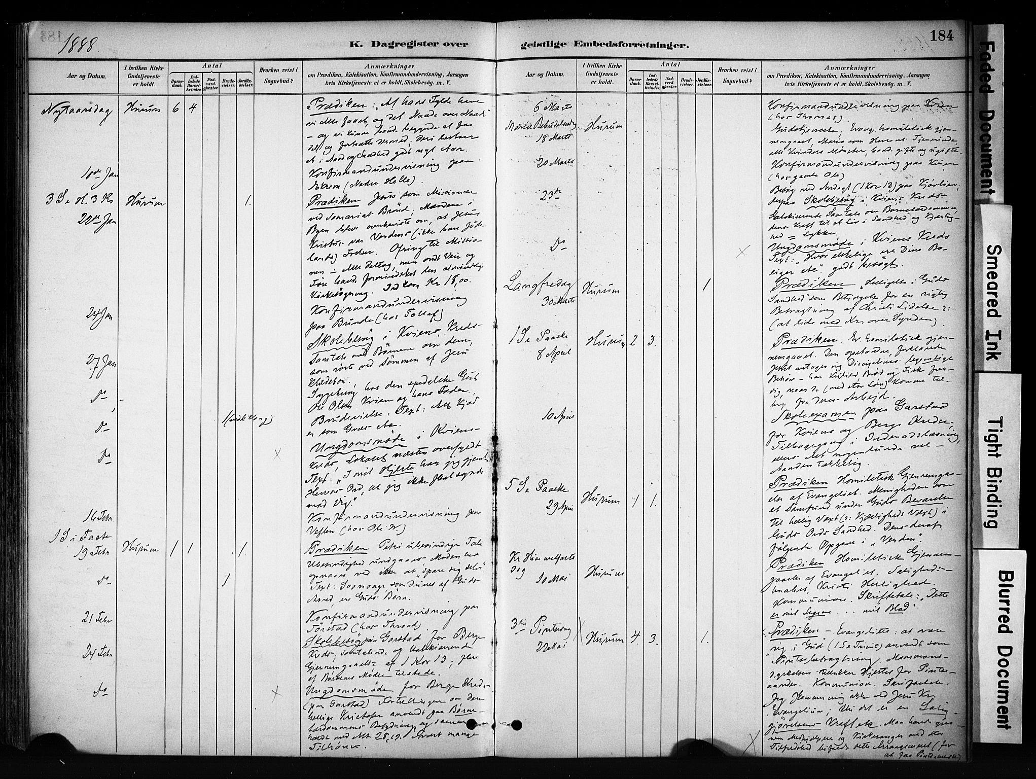 SAH, Vang prestekontor, Valdres, Ministerialbok nr. 9, 1882-1914, s. 184