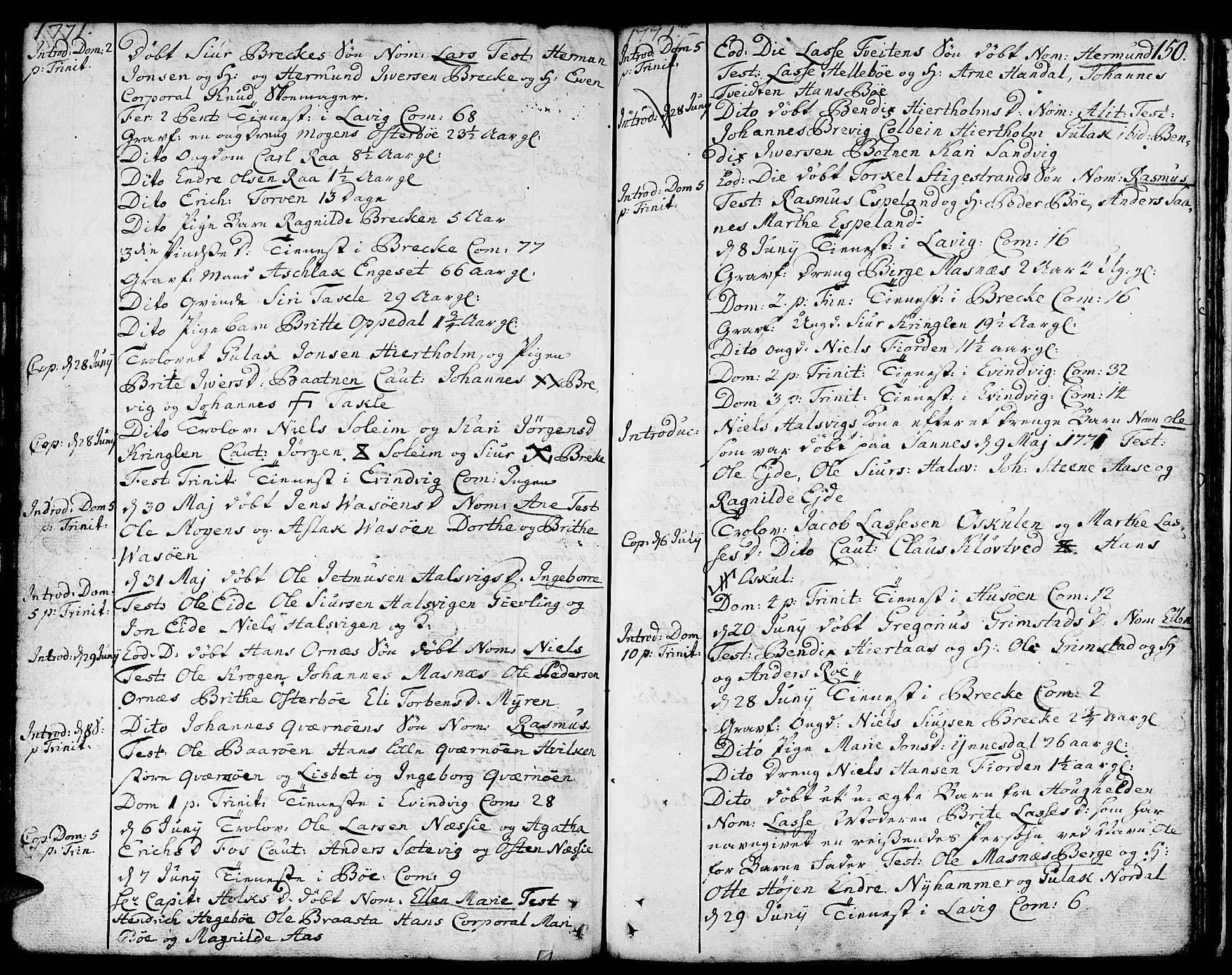 SAB, Gulen Sokneprestembete, Ministerialbok nr. A 12, 1749-1776, s. 150