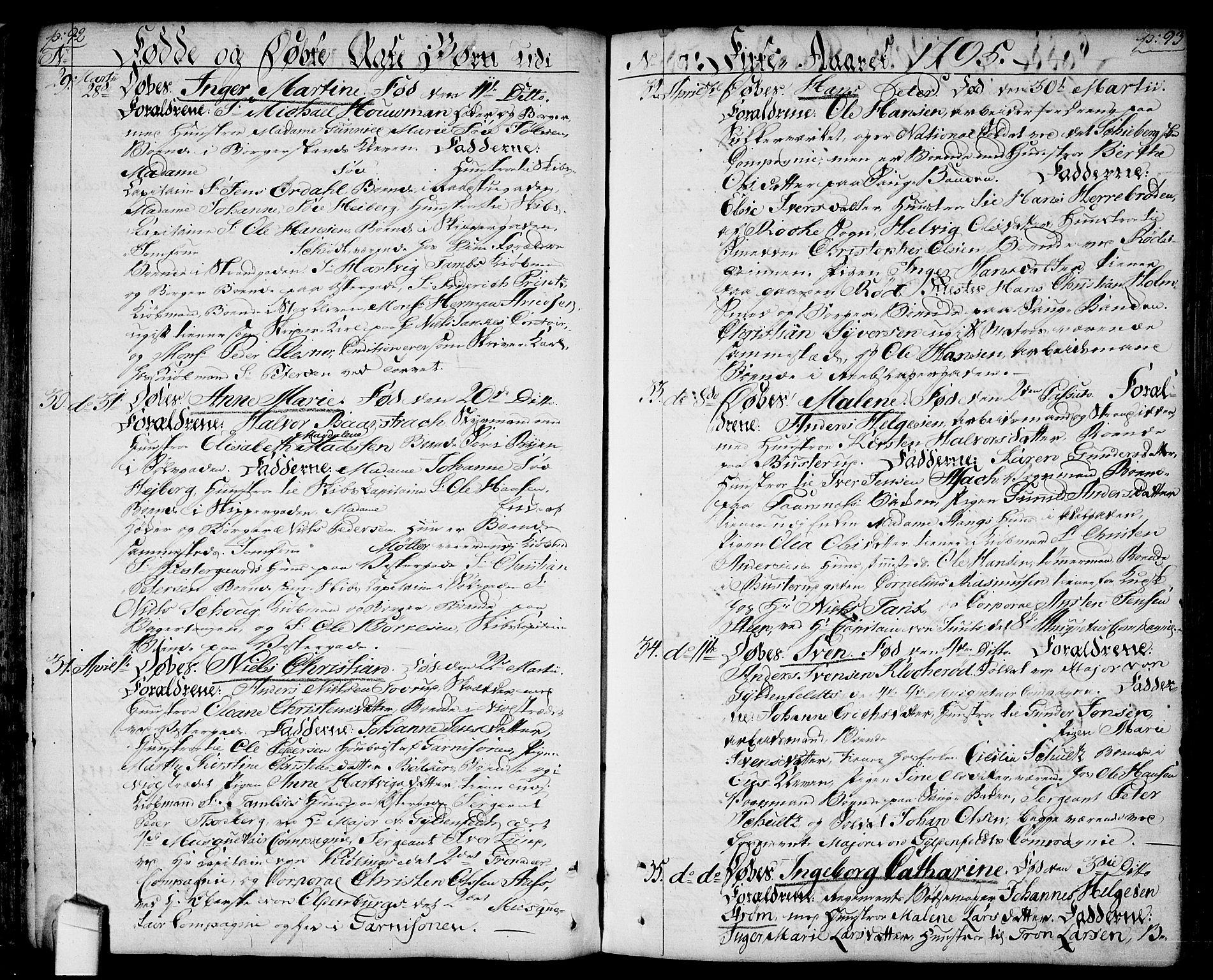 SAO, Halden prestekontor Kirkebøker, F/Fa/L0002: Ministerialbok nr. I 2, 1792-1812, s. 92-93