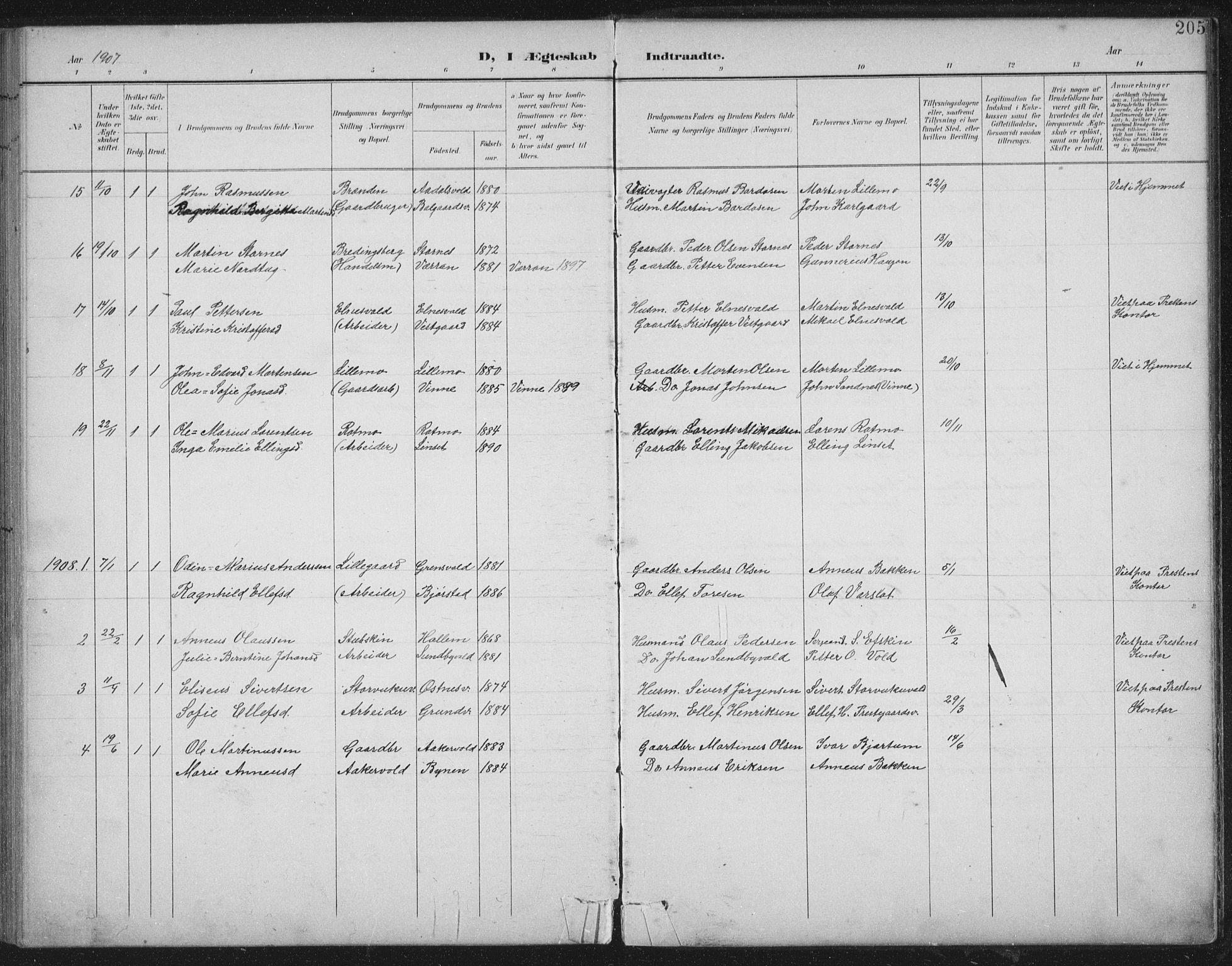 SAT, Ministerialprotokoller, klokkerbøker og fødselsregistre - Nord-Trøndelag, 724/L0269: Klokkerbok nr. 724C05, 1899-1920, s. 205