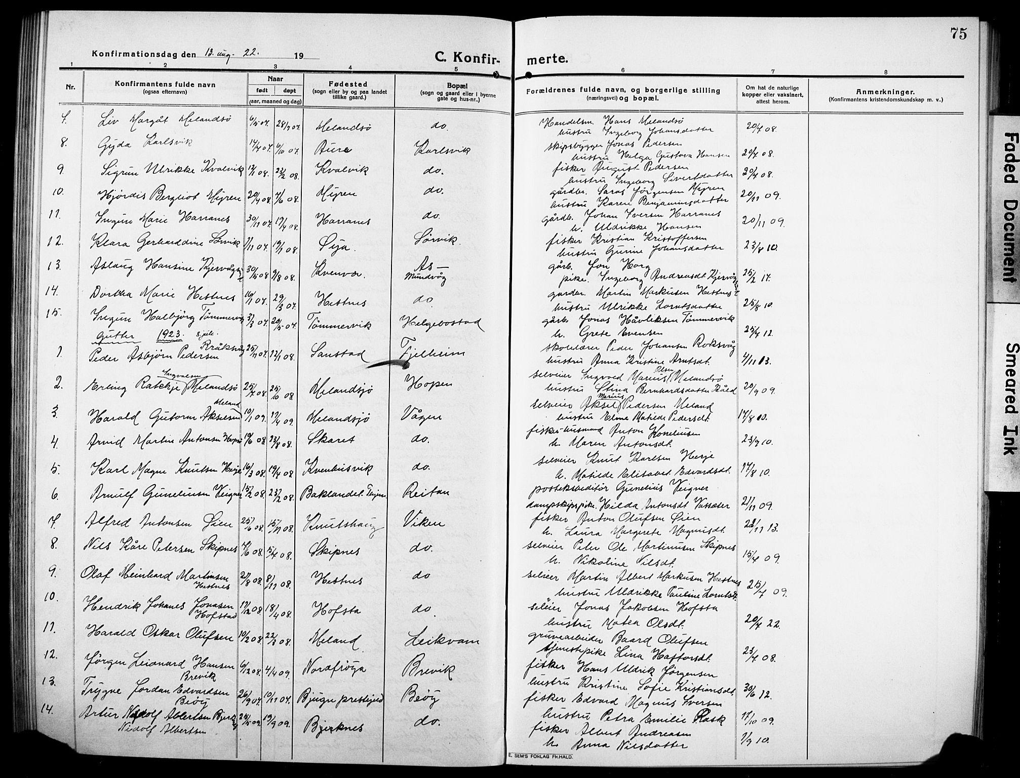 SAT, Ministerialprotokoller, klokkerbøker og fødselsregistre - Sør-Trøndelag, 634/L0543: Klokkerbok nr. 634C05, 1917-1928, s. 75