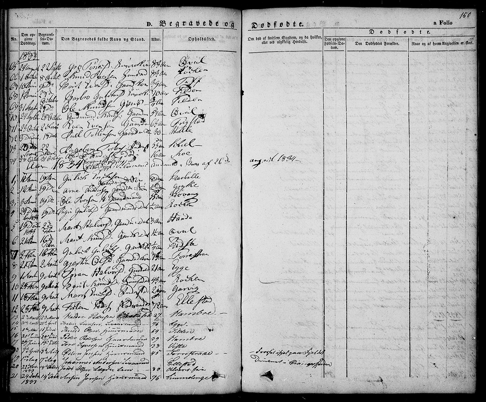 SAH, Slidre prestekontor, Ministerialbok nr. 3, 1831-1843, s. 150