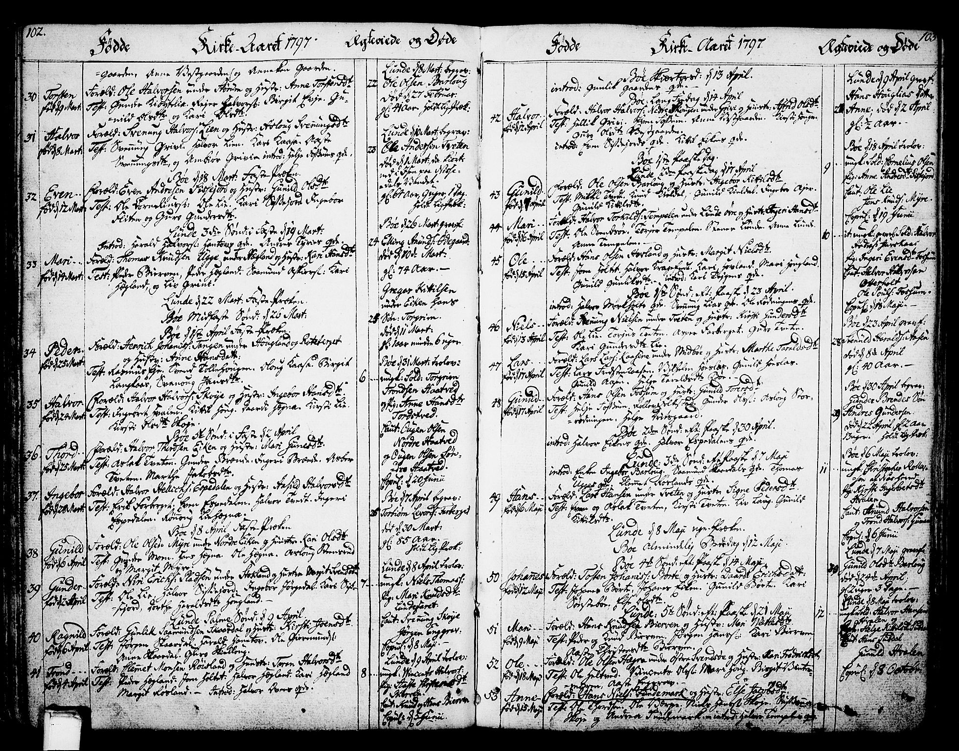 SAKO, Bø kirkebøker, F/Fa/L0005: Ministerialbok nr. 5, 1785-1815, s. 102-103