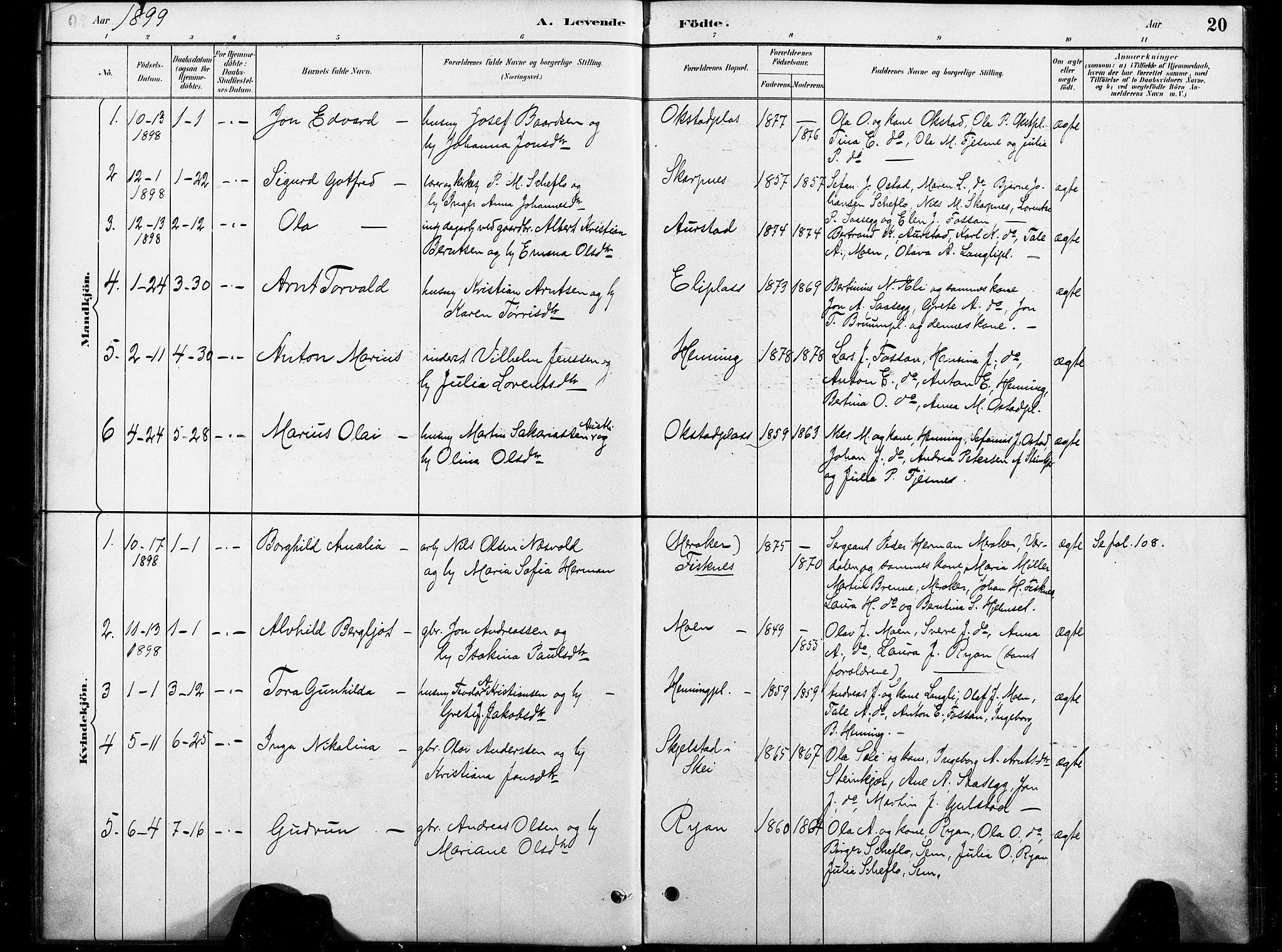 SAT, Ministerialprotokoller, klokkerbøker og fødselsregistre - Nord-Trøndelag, 738/L0364: Ministerialbok nr. 738A01, 1884-1902, s. 20