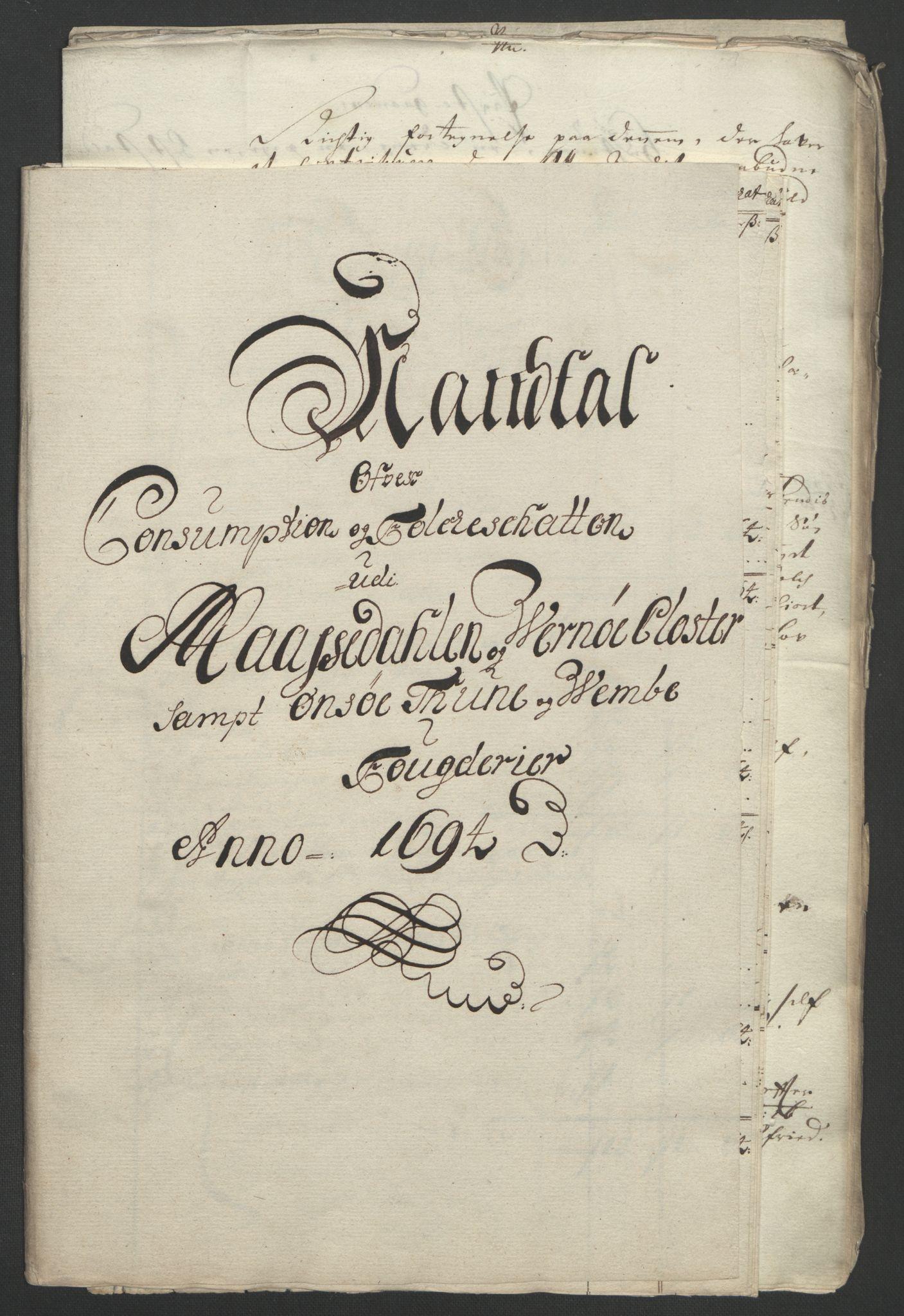 RA, Rentekammeret inntil 1814, Reviderte regnskaper, Fogderegnskap, R03/L0121: Fogderegnskap Onsøy, Tune, Veme og Åbygge fogderi, 1694, s. 244