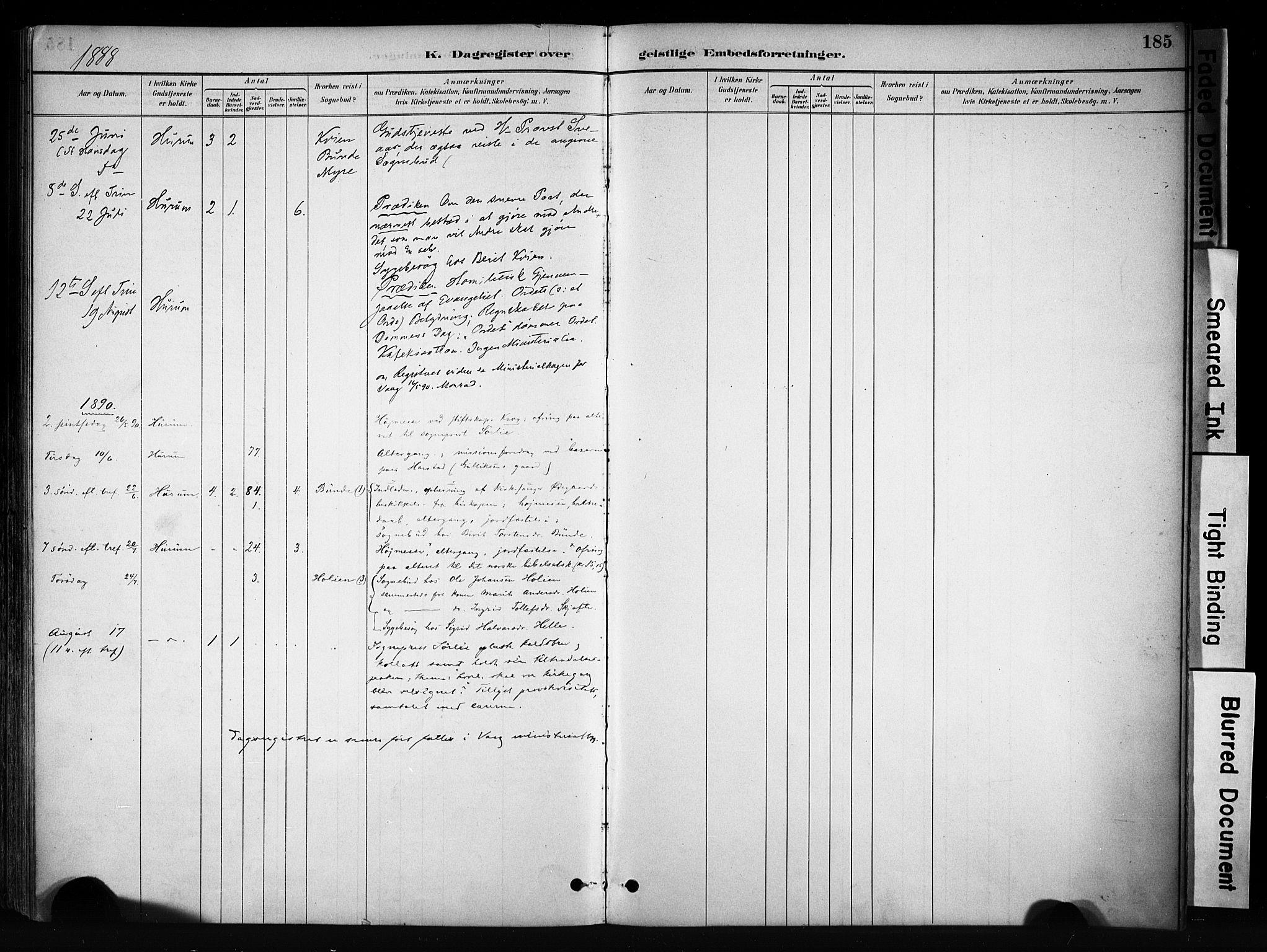 SAH, Vang prestekontor, Valdres, Ministerialbok nr. 9, 1882-1914, s. 185