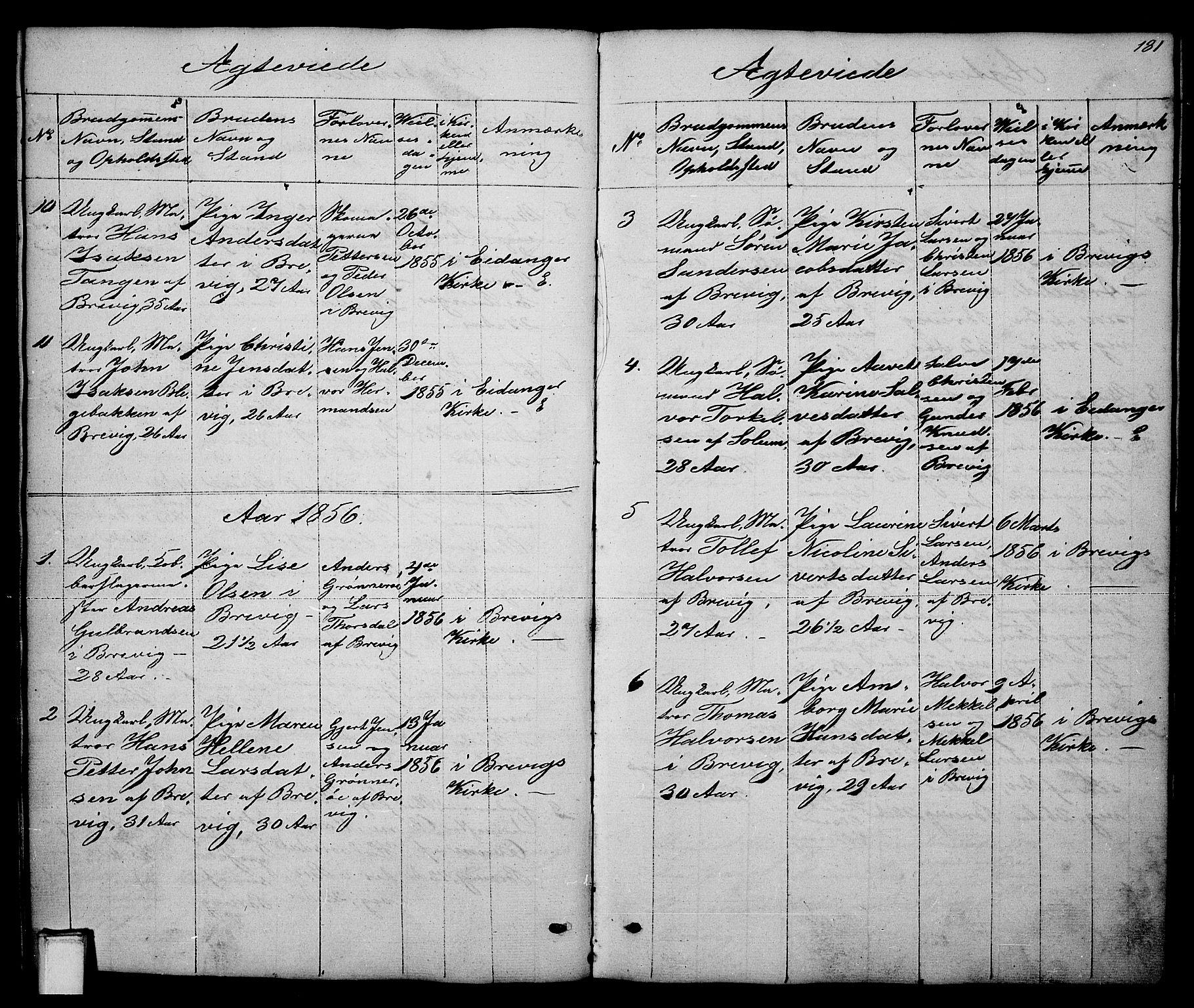 SAKO, Brevik kirkebøker, G/Ga/L0002: Klokkerbok nr. 2, 1846-1865, s. 181