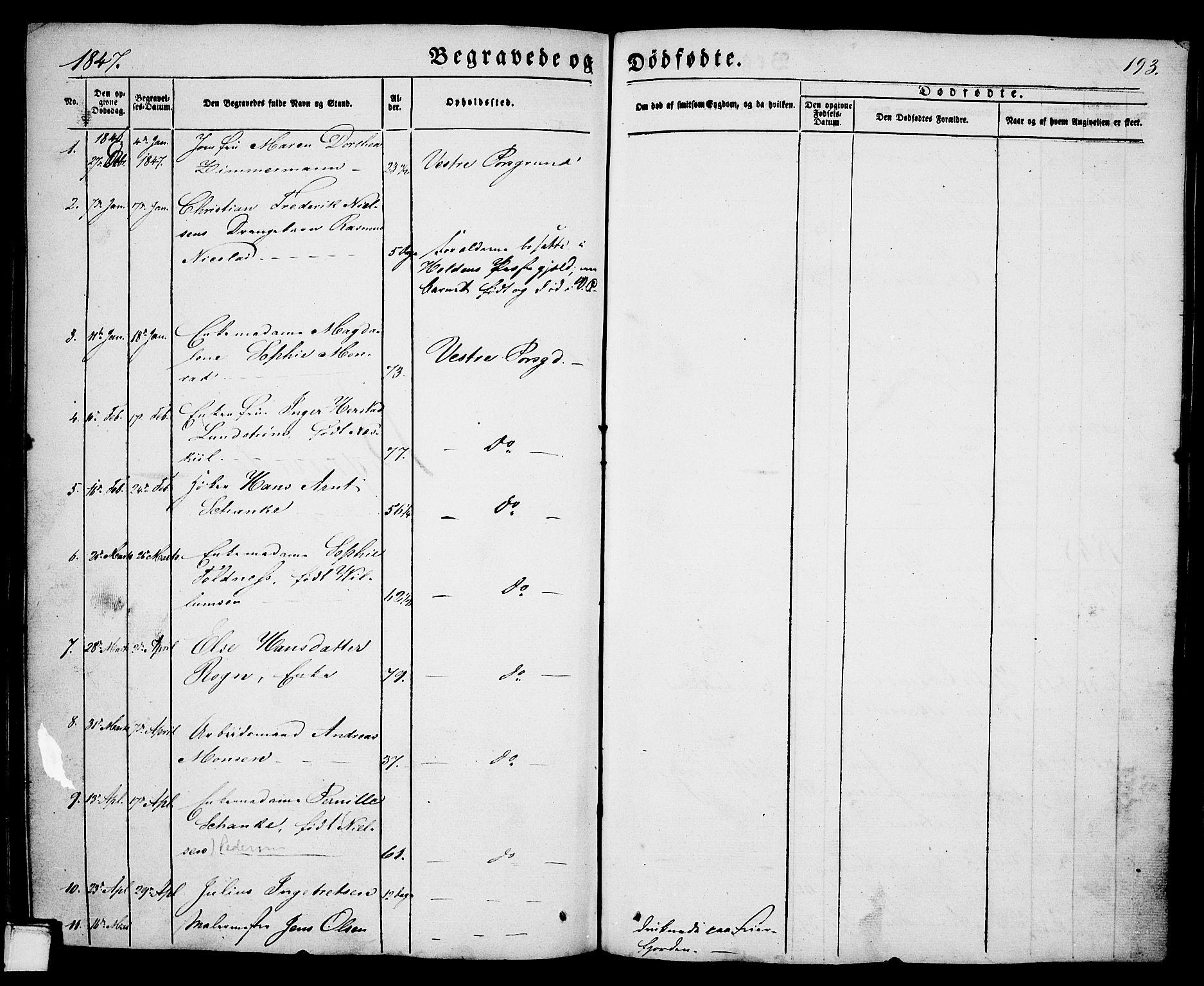 SAKO, Porsgrunn kirkebøker , G/Ga/L0002: Klokkerbok nr. I 2, 1847-1877, s. 193