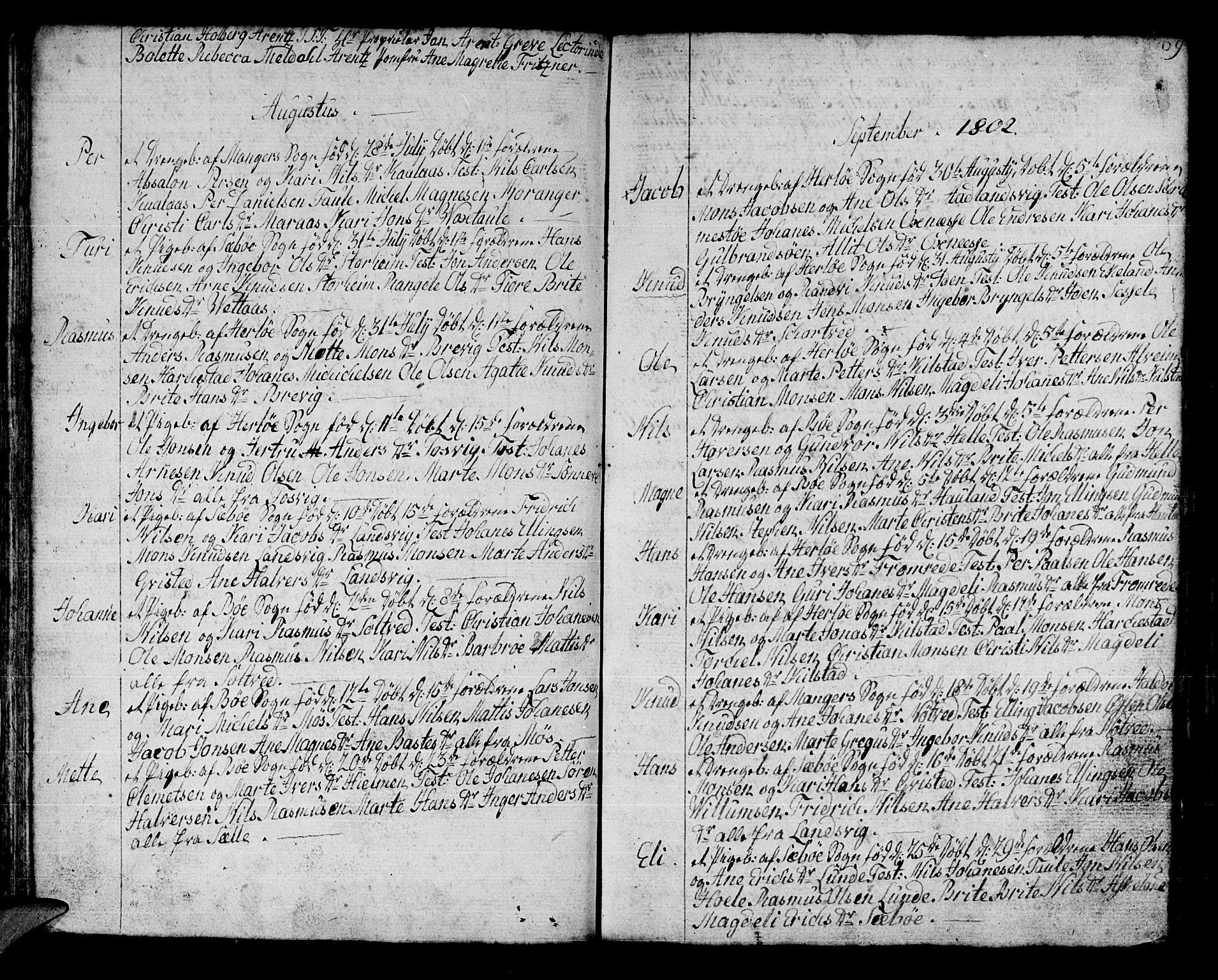 SAB, Manger sokneprestembete, H/Haa: Ministerialbok nr. A 2, 1792-1815, s. 69