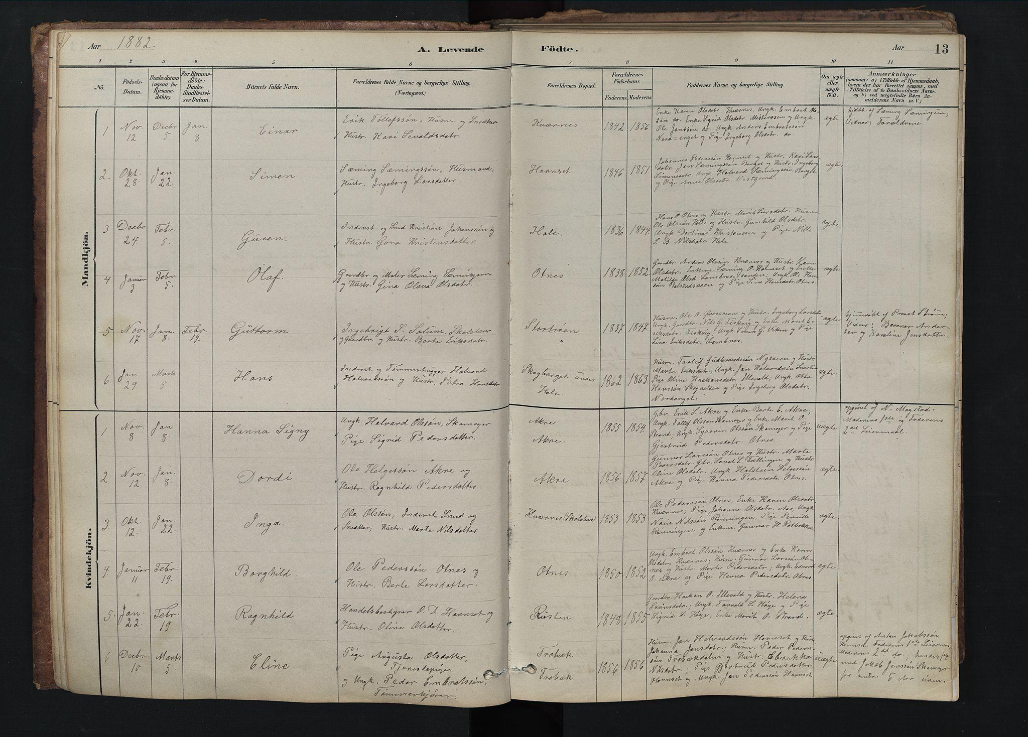 SAH, Rendalen prestekontor, H/Ha/Hab/L0009: Klokkerbok nr. 9, 1879-1902, s. 13