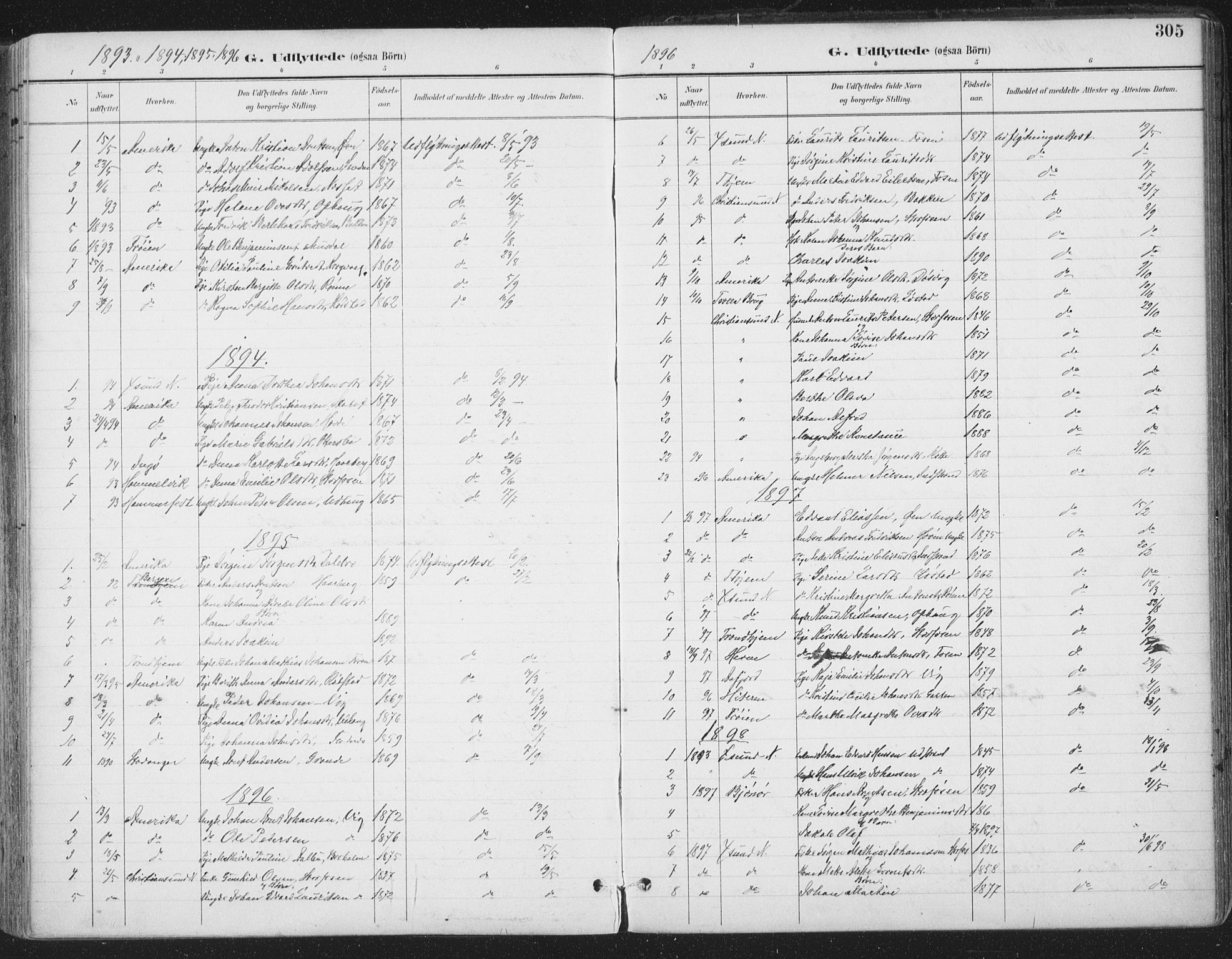 SAT, Ministerialprotokoller, klokkerbøker og fødselsregistre - Sør-Trøndelag, 659/L0743: Ministerialbok nr. 659A13, 1893-1910, s. 305