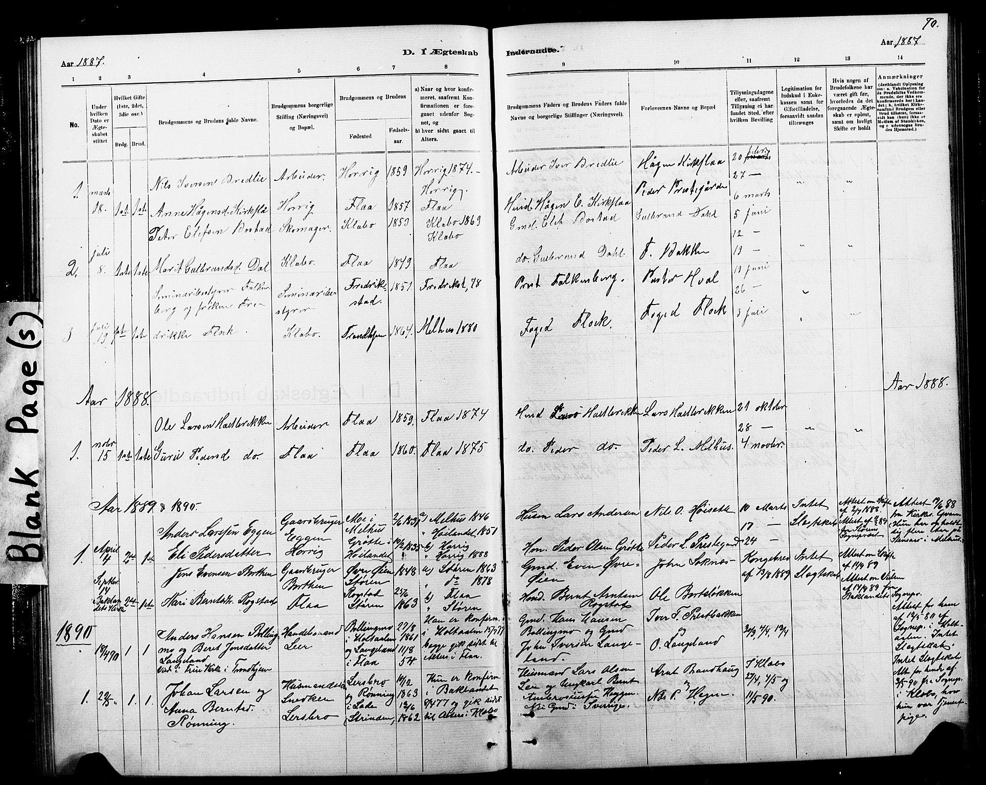 SAT, Ministerialprotokoller, klokkerbøker og fødselsregistre - Sør-Trøndelag, 693/L1123: Klokkerbok nr. 693C04, 1887-1910, s. 70