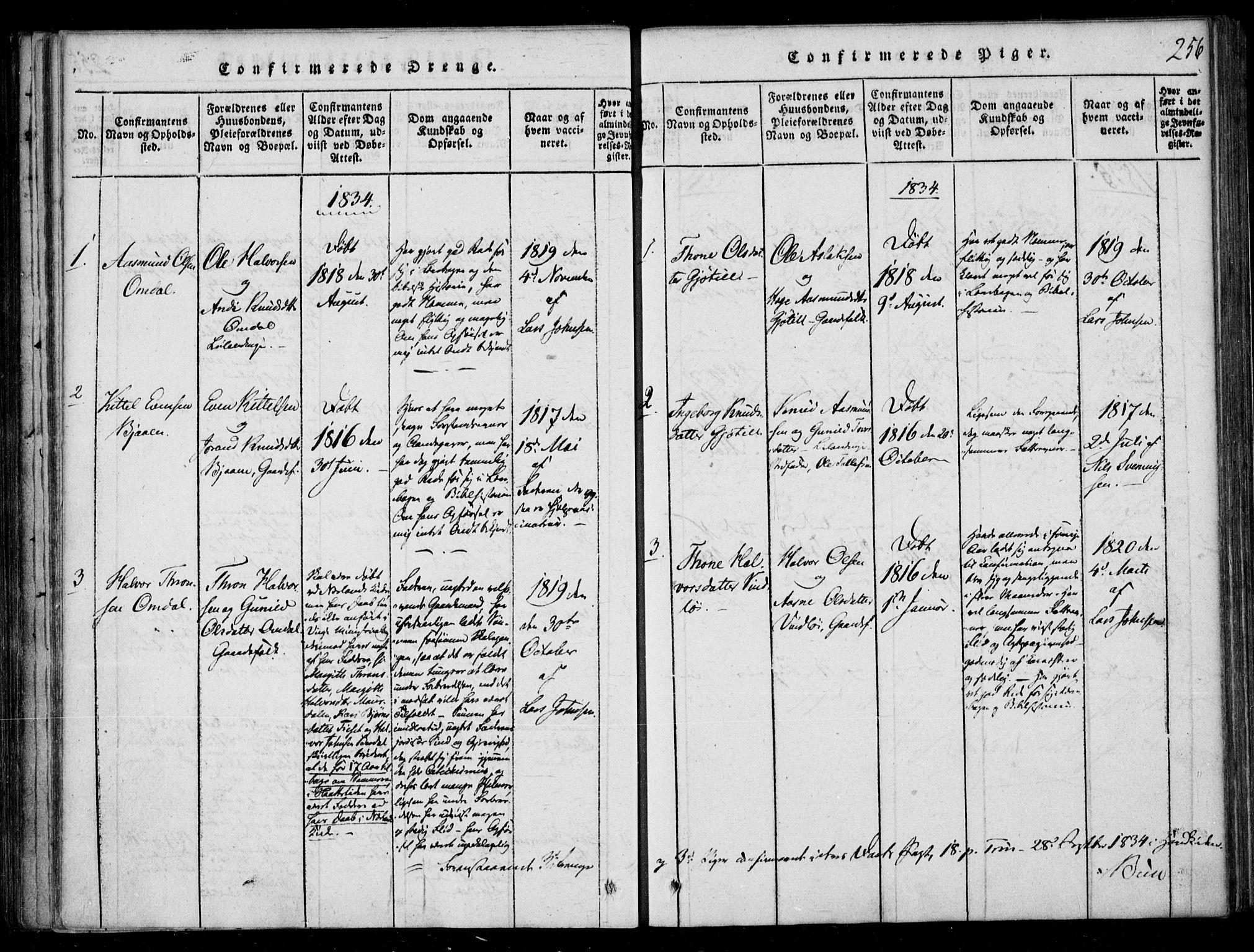 SAKO, Lårdal kirkebøker, F/Fb/L0001: Ministerialbok nr. II 1, 1815-1860, s. 256