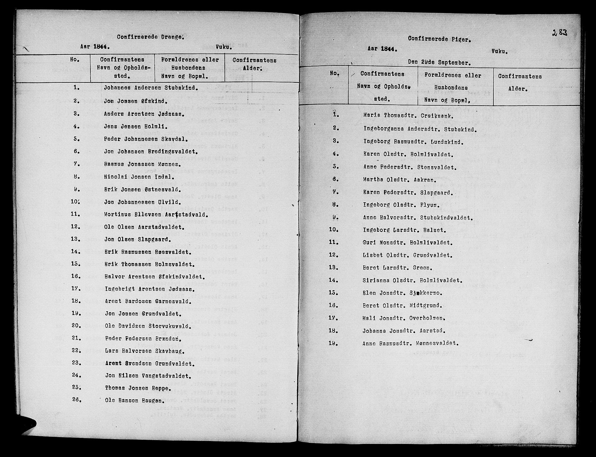 SAT, Ministerialprotokoller, klokkerbøker og fødselsregistre - Nord-Trøndelag, 724/L0265: Klokkerbok nr. 724C01, 1816-1845, s. 283