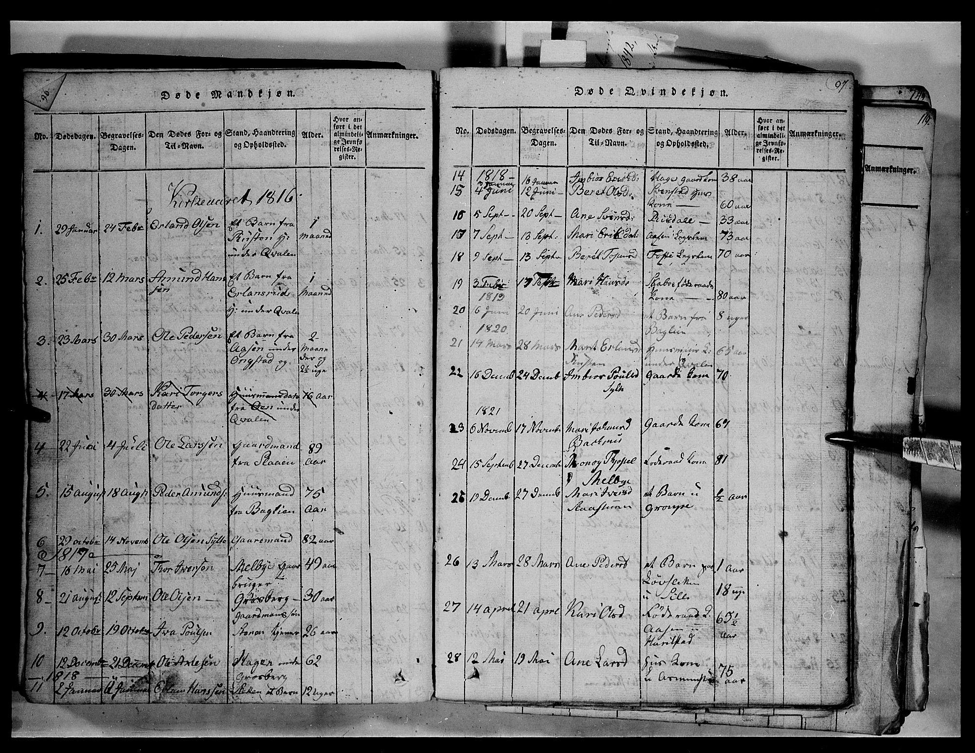 SAH, Fron prestekontor, H/Ha/Hab/L0003: Klokkerbok nr. 3, 1816-1850, s. 97