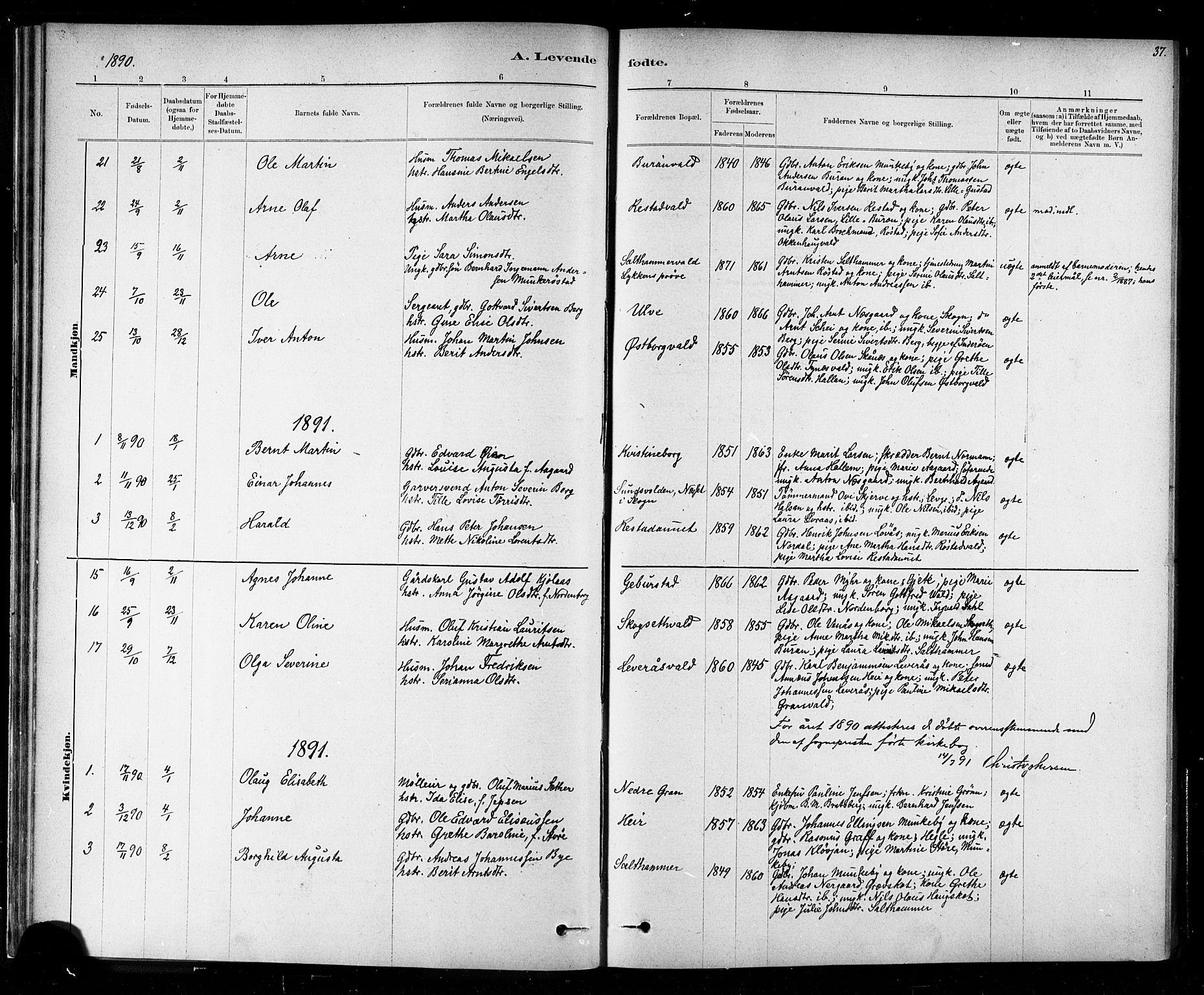 SAT, Ministerialprotokoller, klokkerbøker og fødselsregistre - Nord-Trøndelag, 721/L0208: Klokkerbok nr. 721C01, 1880-1917, s. 37
