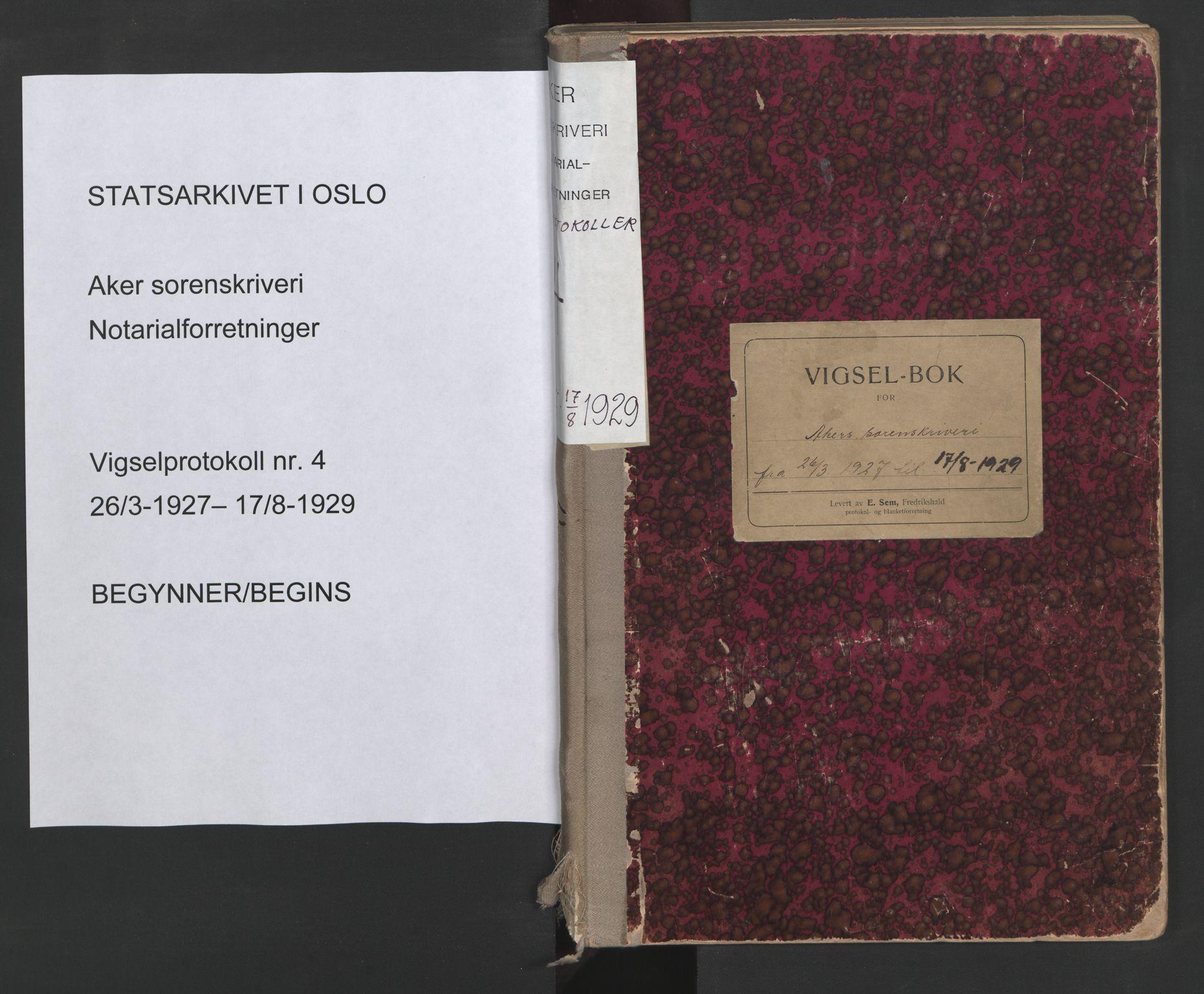 SAO, Aker sorenskriveri, L/Lc/Lcb/L0004: Vigselprotokoll, 1927-1929, s. upaginert