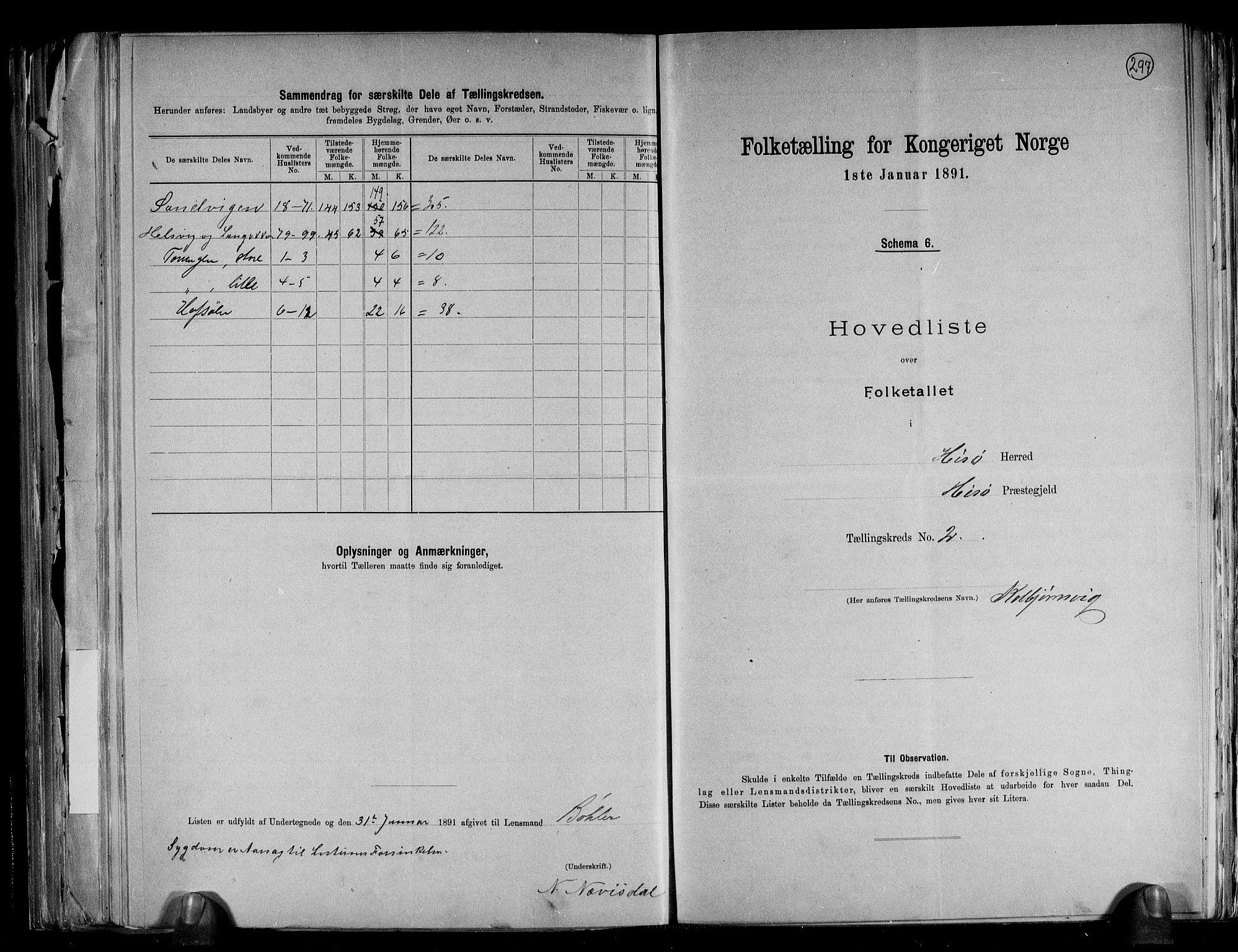 RA, Folketelling 1891 for 0922 Hisøy herred, 1891, s. 7